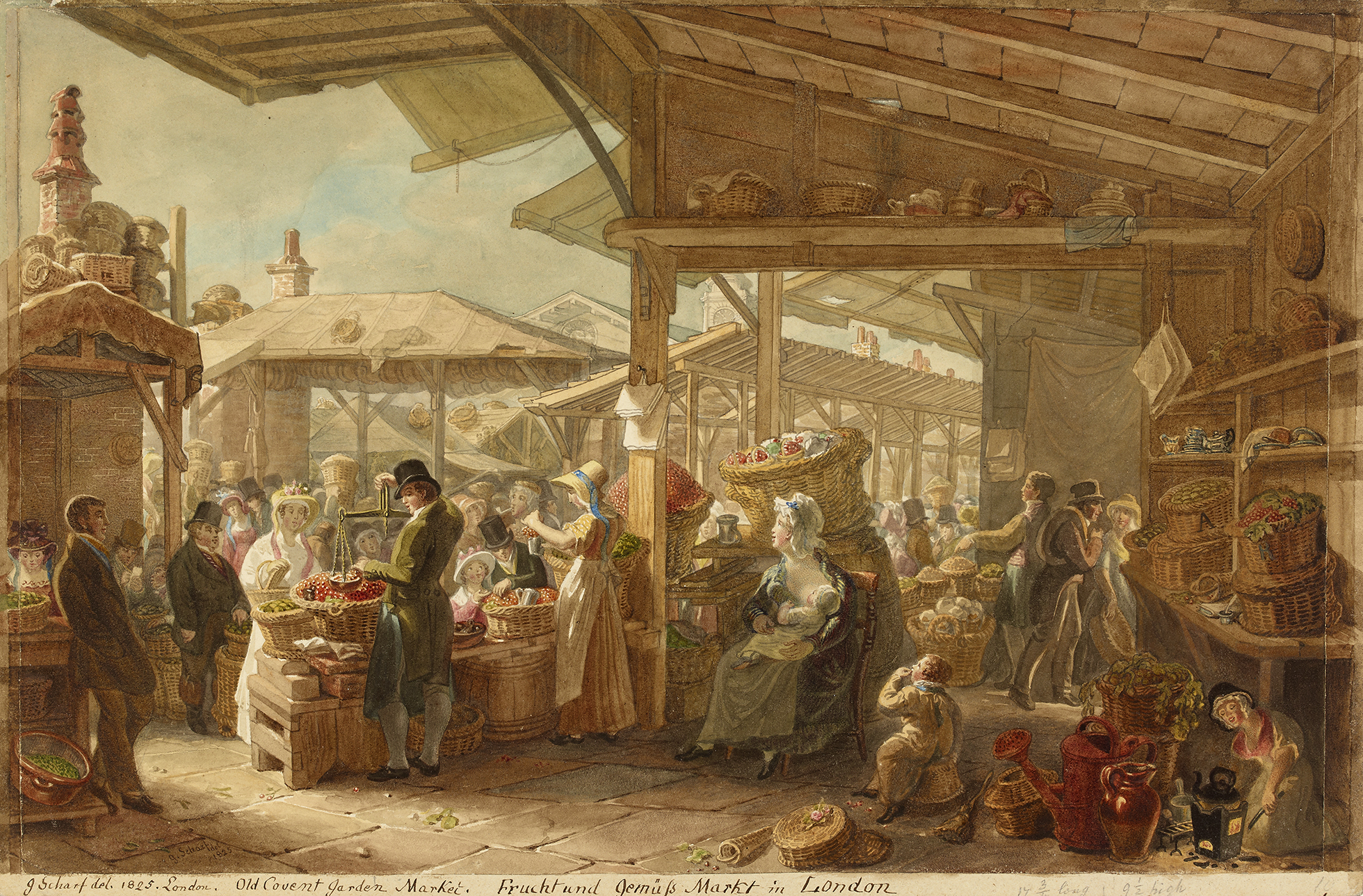 A view of Old Covent Garden from beneath the tiled roof of a stall. The stall is stacked with baskets of fruit – there is a man with a pair of scales, a woman nursing a baby, and another kneeling over a stove. In the background there are further timber-framed stalls and crowds of people.