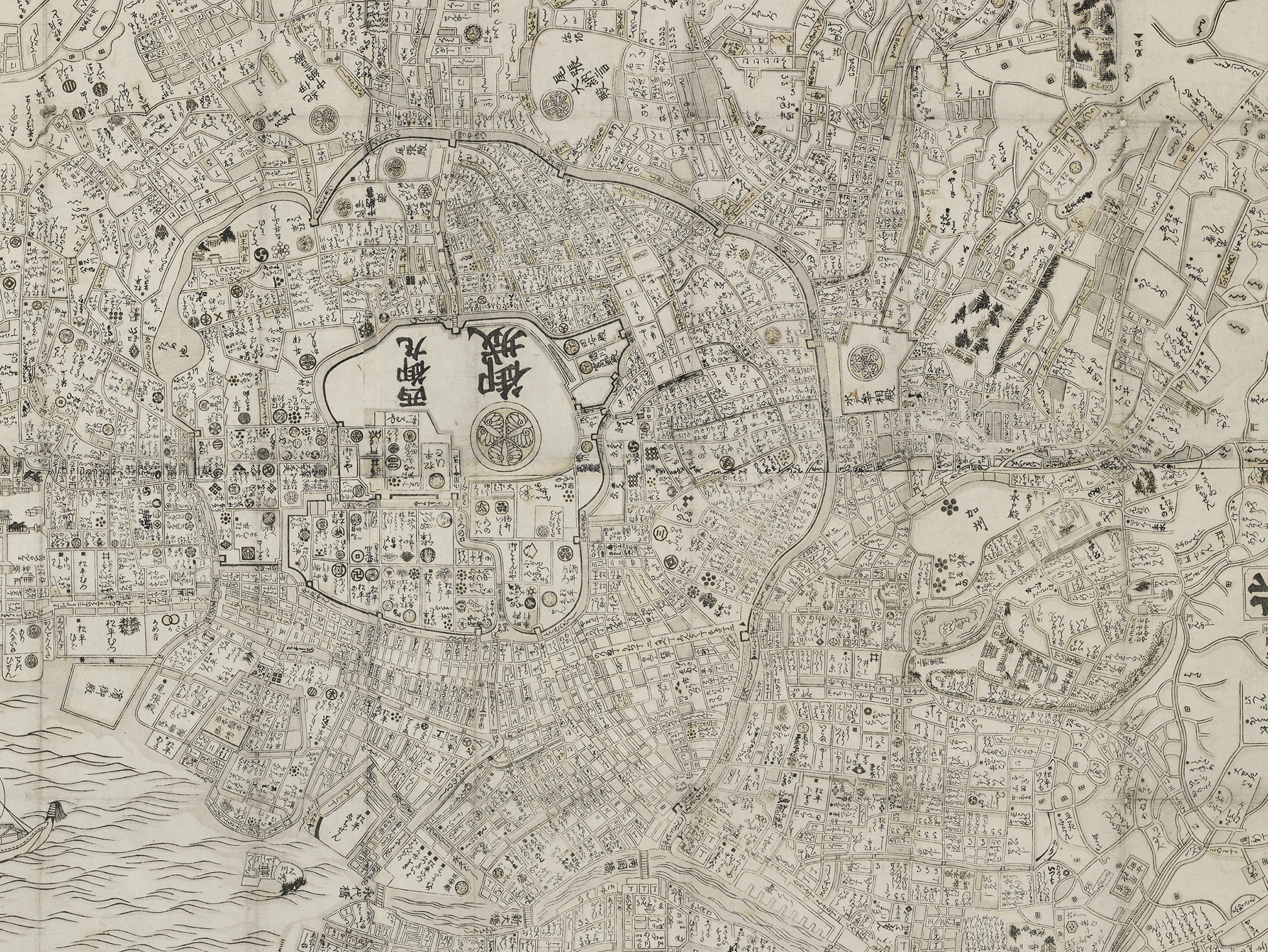 A woodblock print of a map of Edo, shown from above. The network of canals rings the city.