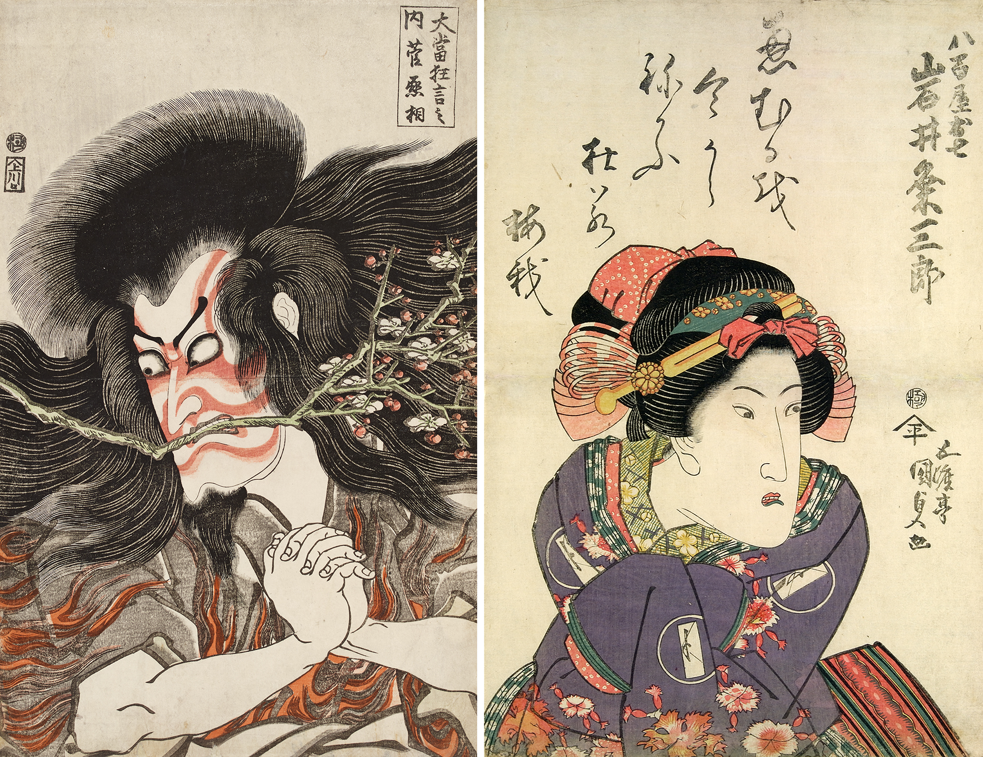 Two colour woodblock prints showing famous actors. On the left is  Ichikawa Danjūrō VII, depicted with long flowing hair and beard holding a branch in his teeth. He has red face make-up. On the right Iwai Kumesaburō II is depicted in women's clothes - with bows in his hair and elaborate clothes.