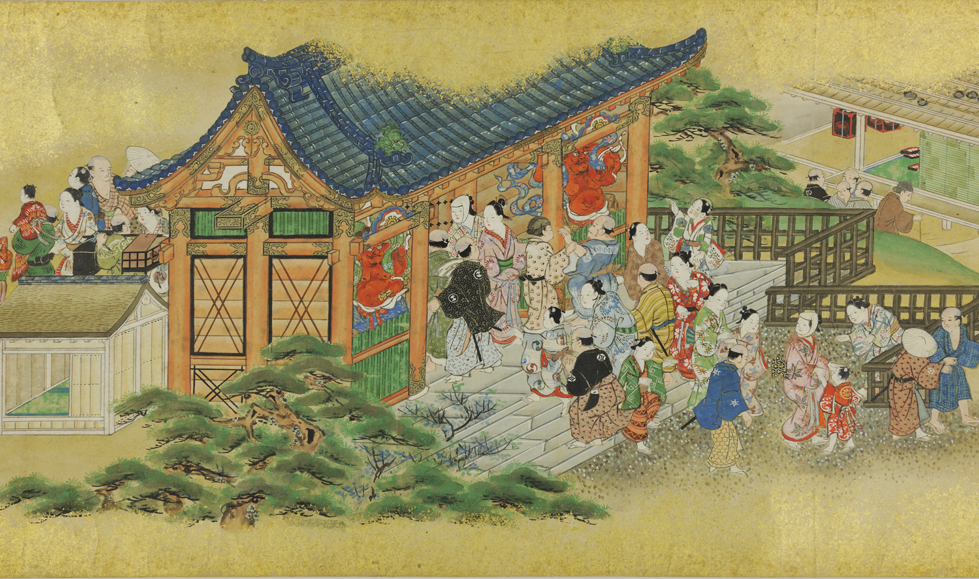 A painted handscroll depicting visitors to a shrine. A colourfully dressed group of visitors walk through a building into the gardens behind.