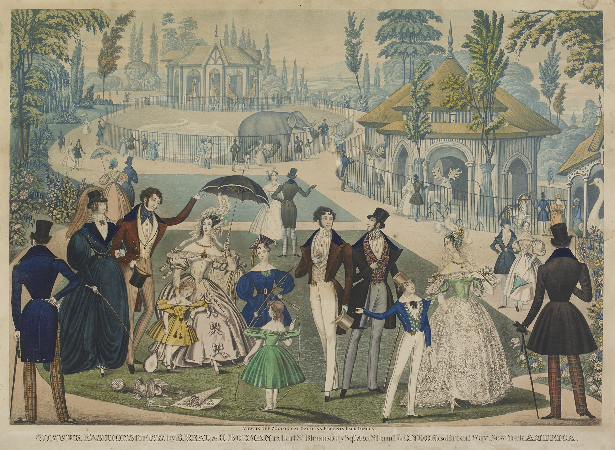 A group of men, women and children with parasols and toys displaying summer fashions in Regent's Park, with figures looking at elephants, giraffes and deer around their enclosures in the background.
