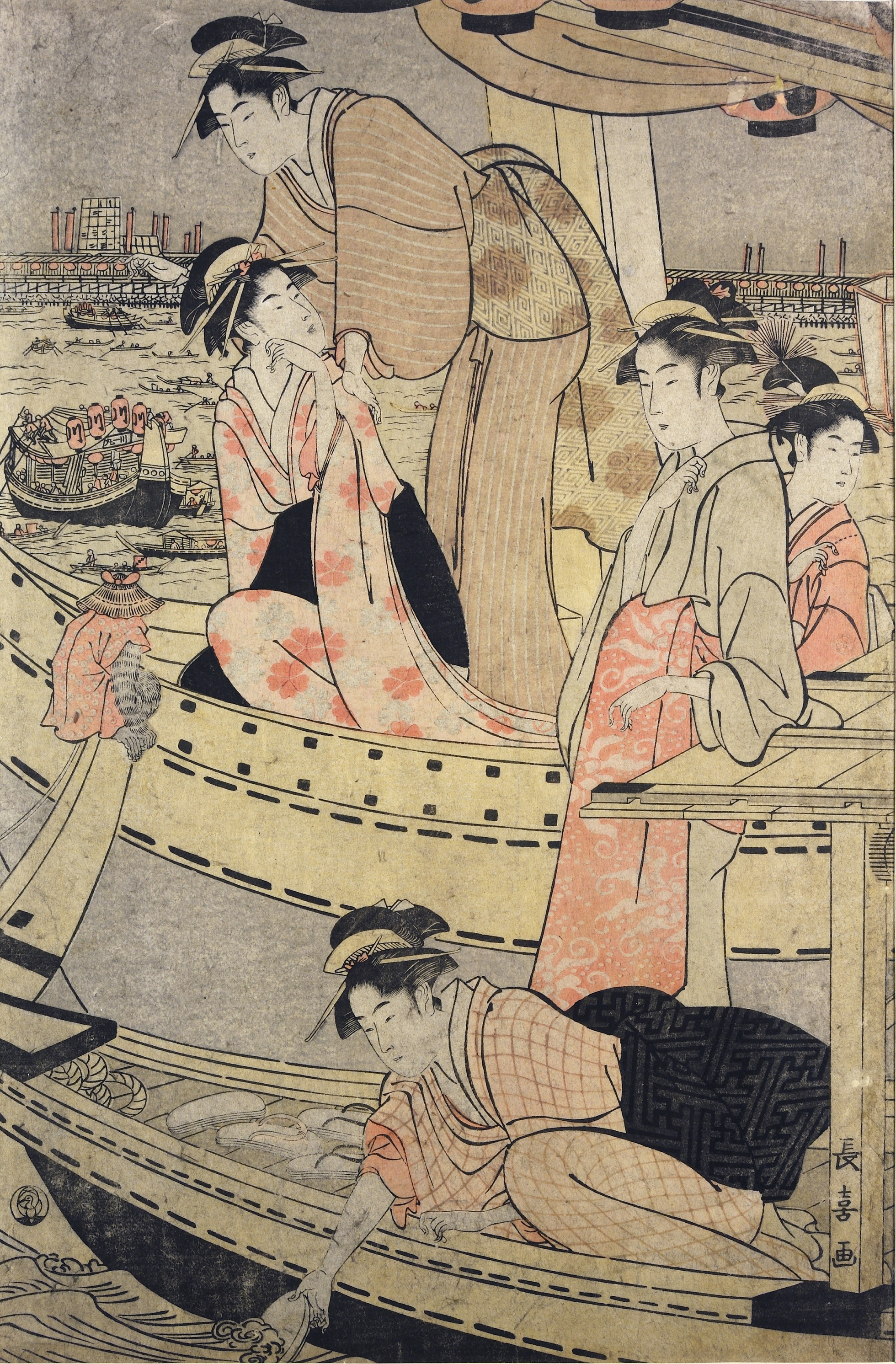 A colour woodblock print of women in a pleasure boat on a river. In the background other boats travel down the waterway and buildings line the banks.