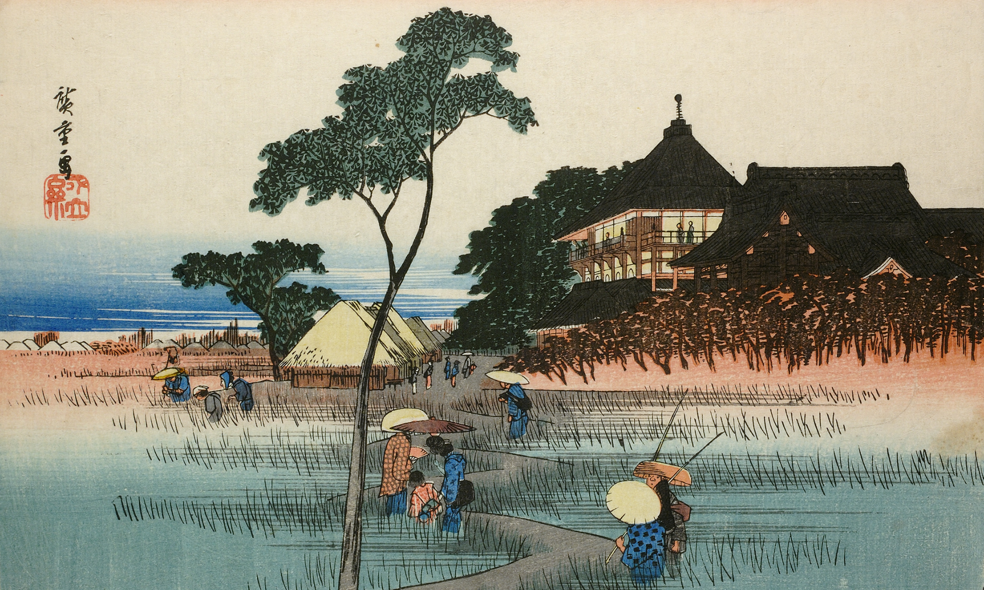 A colour woodblock print showing the Sanso Hall. Visitors walk along a winding path towards the hall that sits on high ground. People enjoy the view from the balcony.