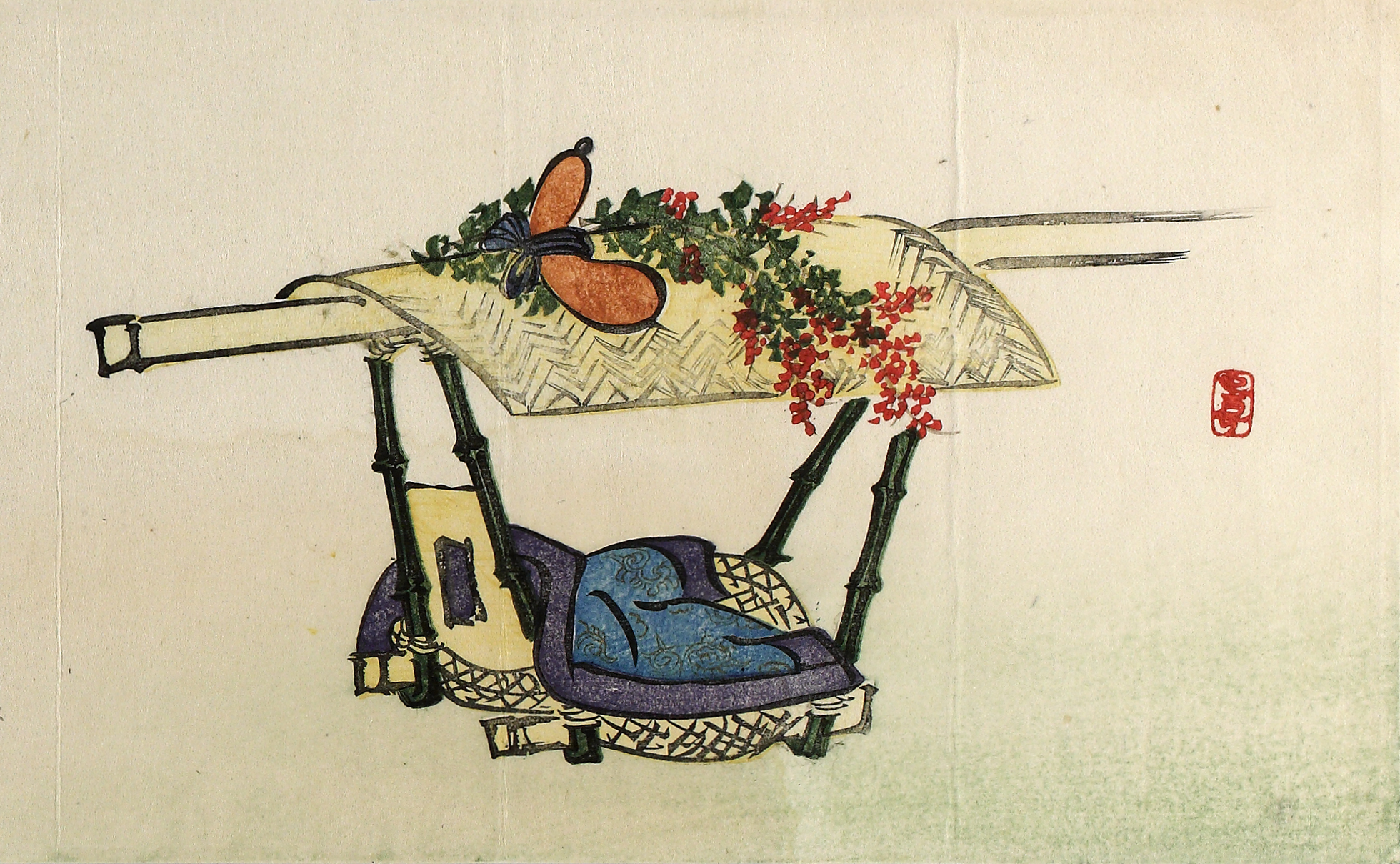 A colour woodblock print of a sedan chair (kago) with a woven roof and a blue cushion on the chair.