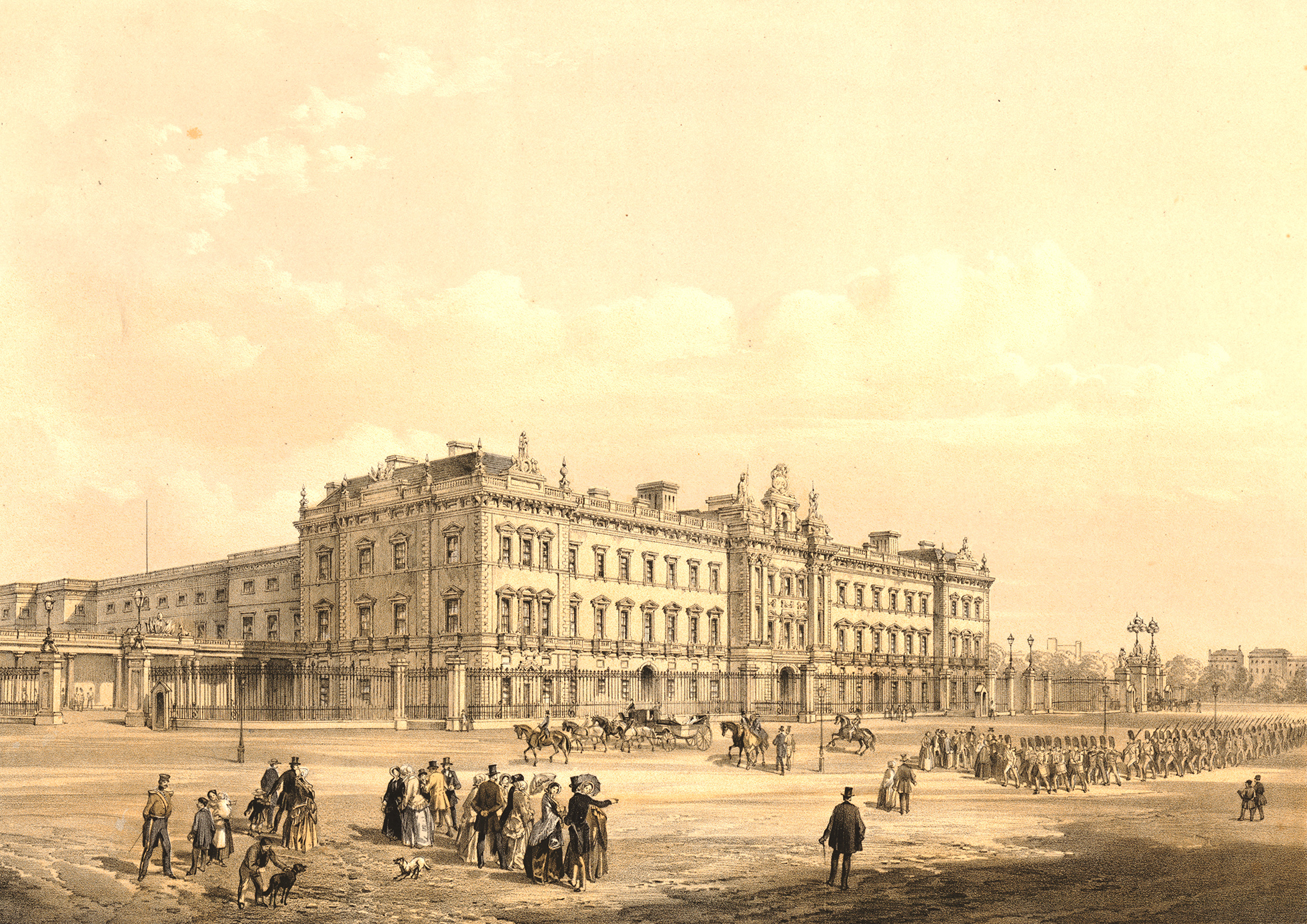 View of Buckingham Palace from the Mall, showing the new east front designed by Blore and built by Cubitt in 1847. There are marching guards in front of palace to right, and other figures in foreground to left.