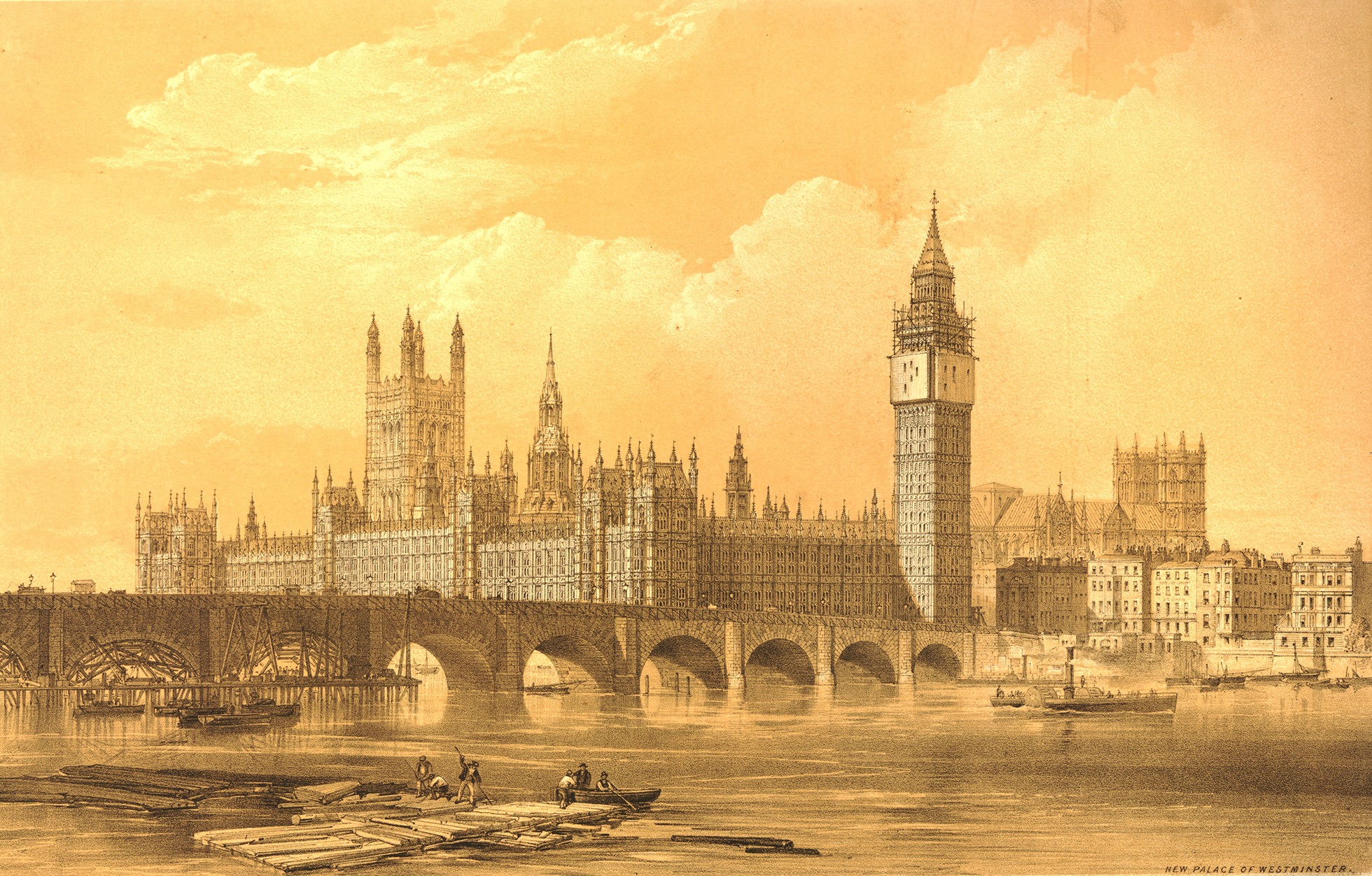 View from the river of the new Houses of Parliament as designed by Charles Barry:  Westminster Bridge is on the left, and a few of the arches have with wooden frames below them. The clock tower still unfinished, with scaffolding around the top.
