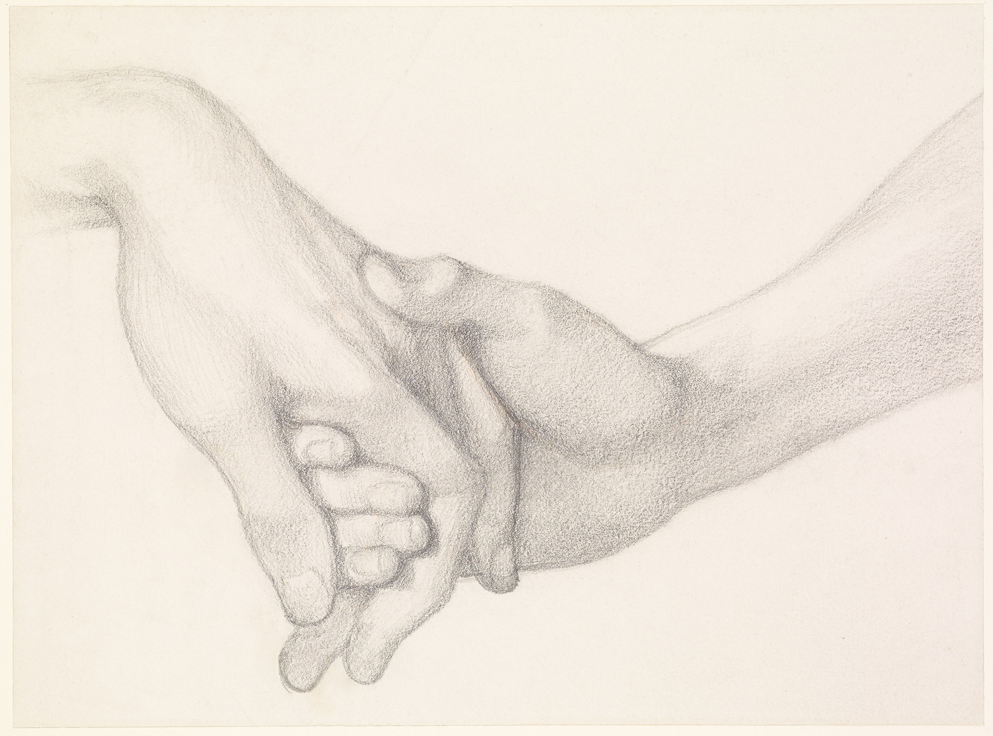 A pencil drawing of two hands in a tender embrace.