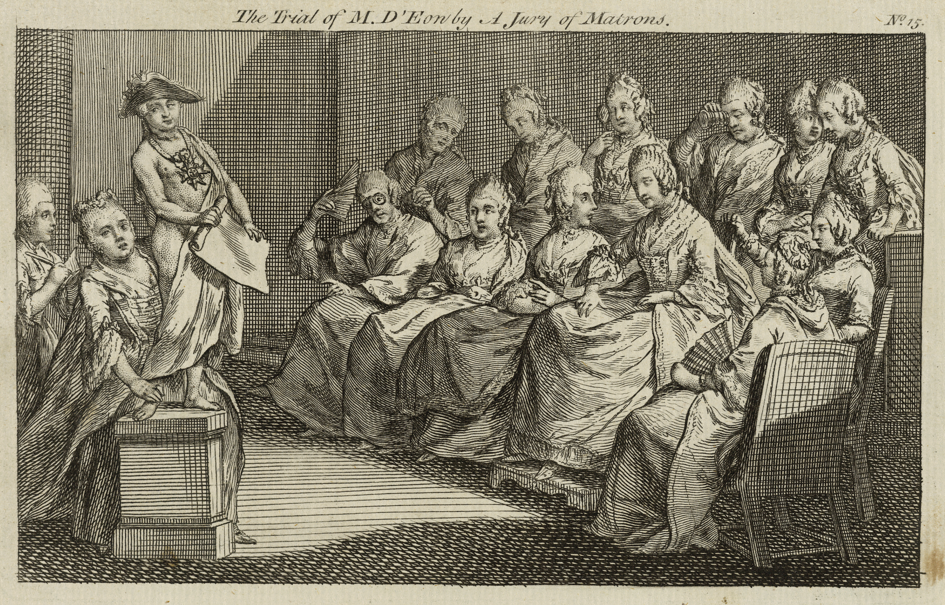 A print depicting the trial of the Chevalier D'Eon, who is shown standing on a plinth to the left. A jury of matrons are seated to the right.