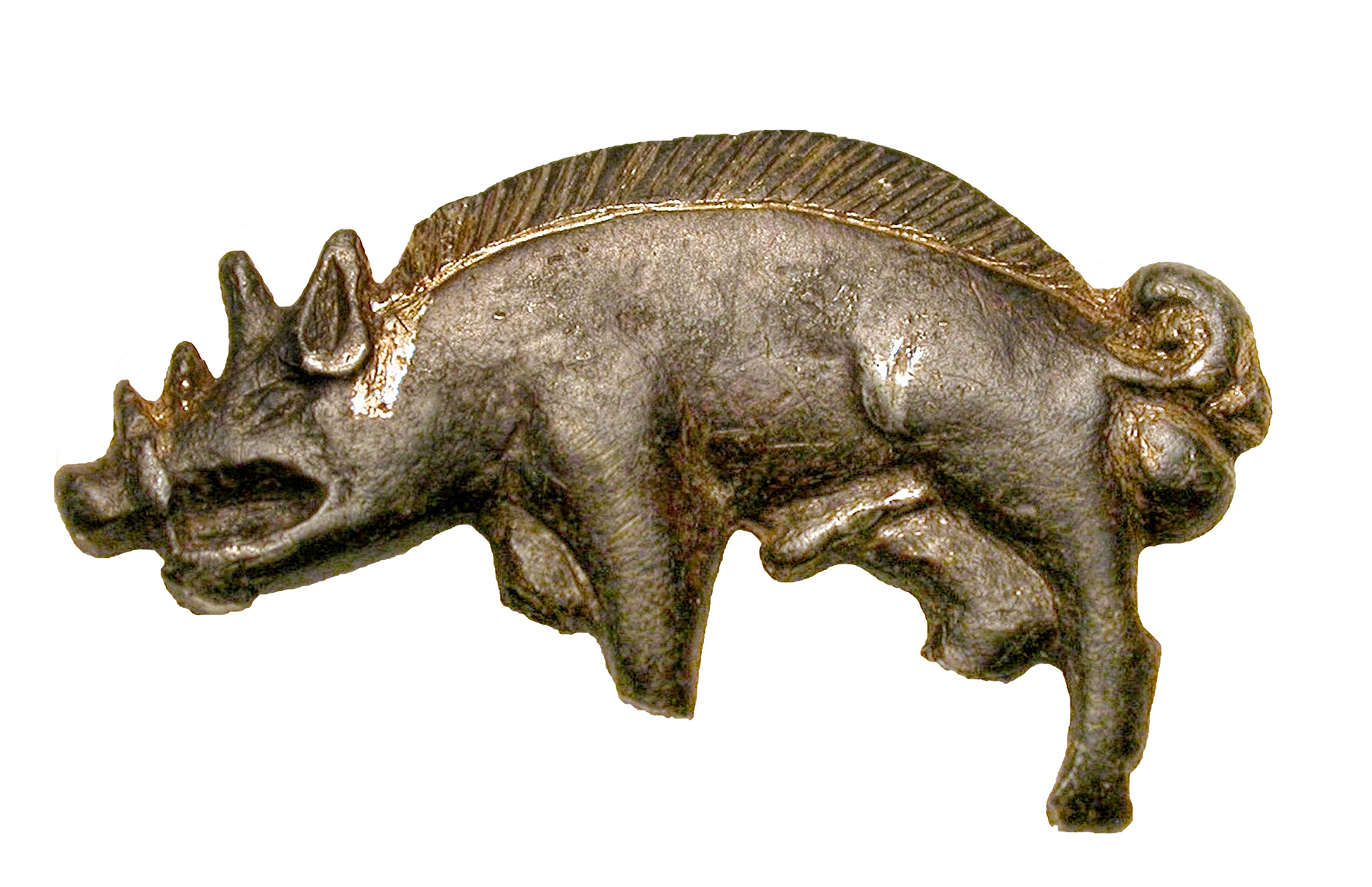 A badge in the shape of a wild boar, in silver gilt. both front legs are broken, and one of the hind legs is missing.