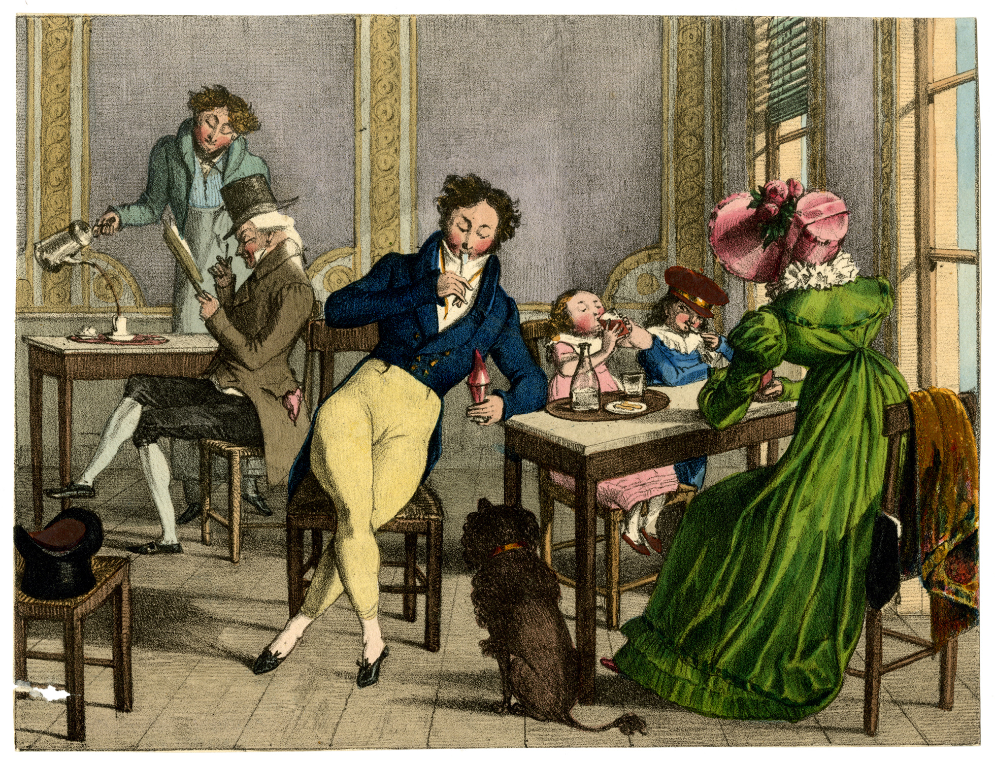 A colour print of the inside of a cafe from the 1820s. Well-dressed people sip coffee and eat ice cream from cups.