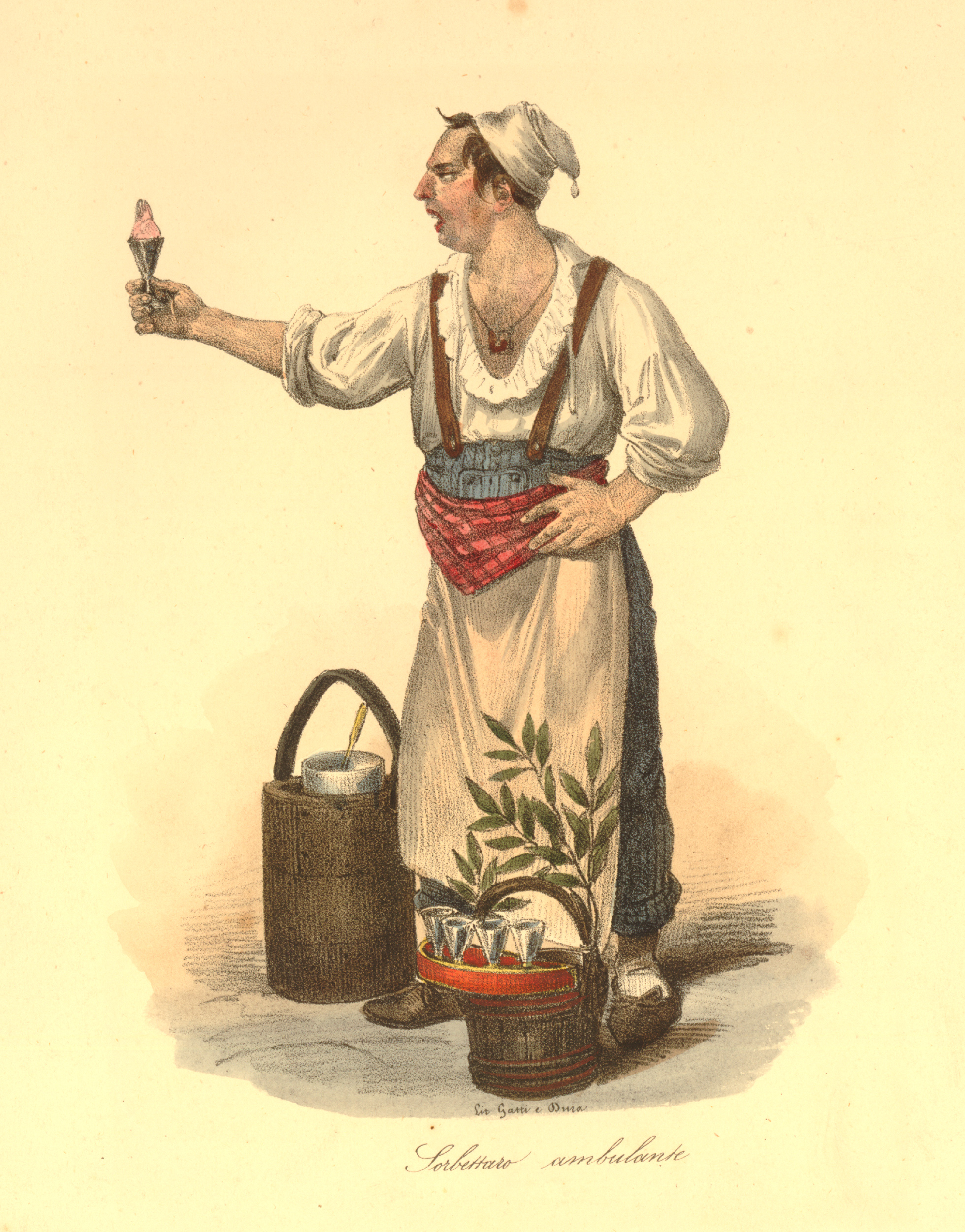 A colour print of a sorbet seller who is holding a glass cone of sorbet and stands next to a sorbetiere.