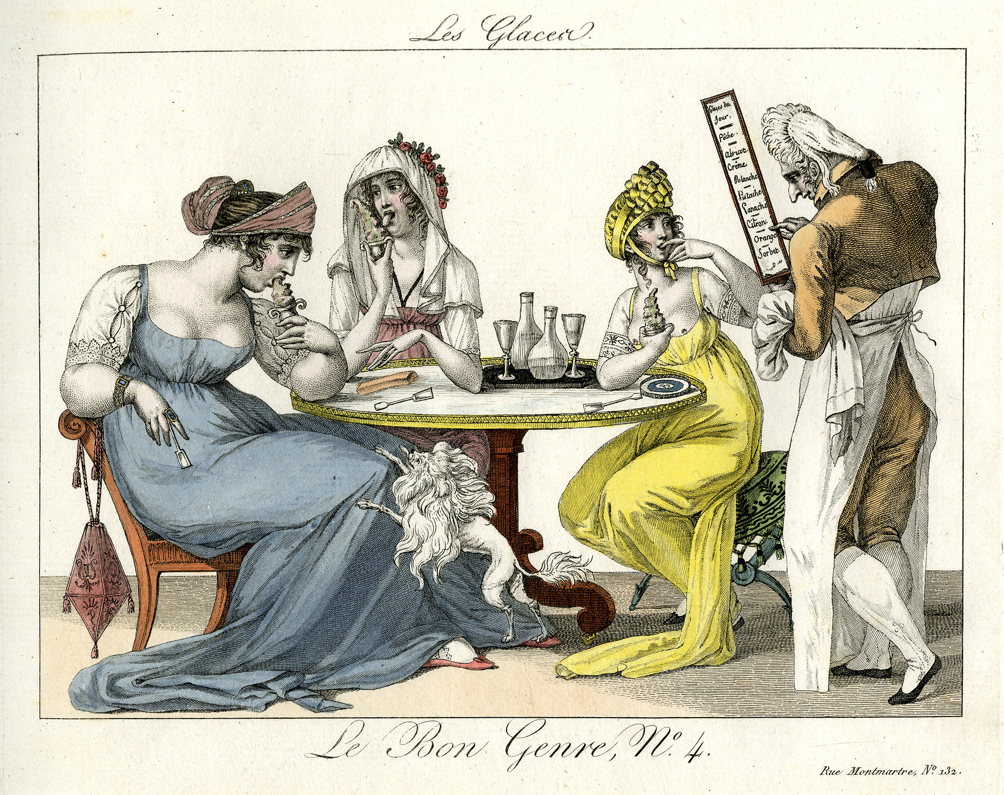 A colour print of three women sitting at a table eating ice cream. A male waiter approaches from the right with a menu.