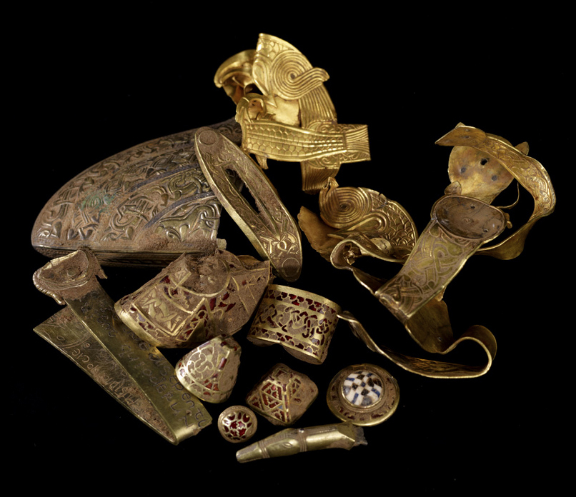 A sample of objects from the Staffordshire Hoard.