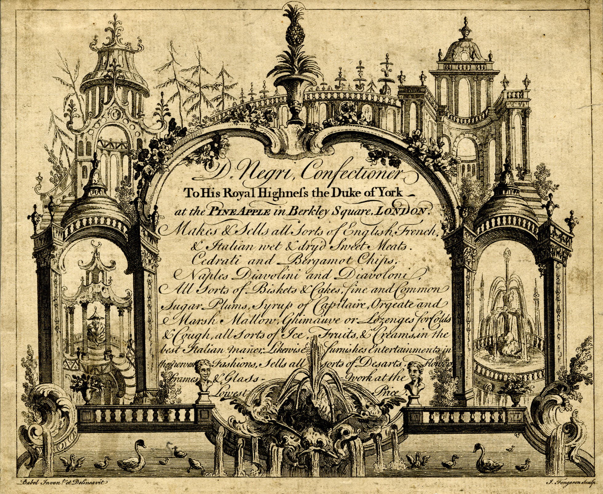 A black-and-white print of a trade card for Negri confectioners.