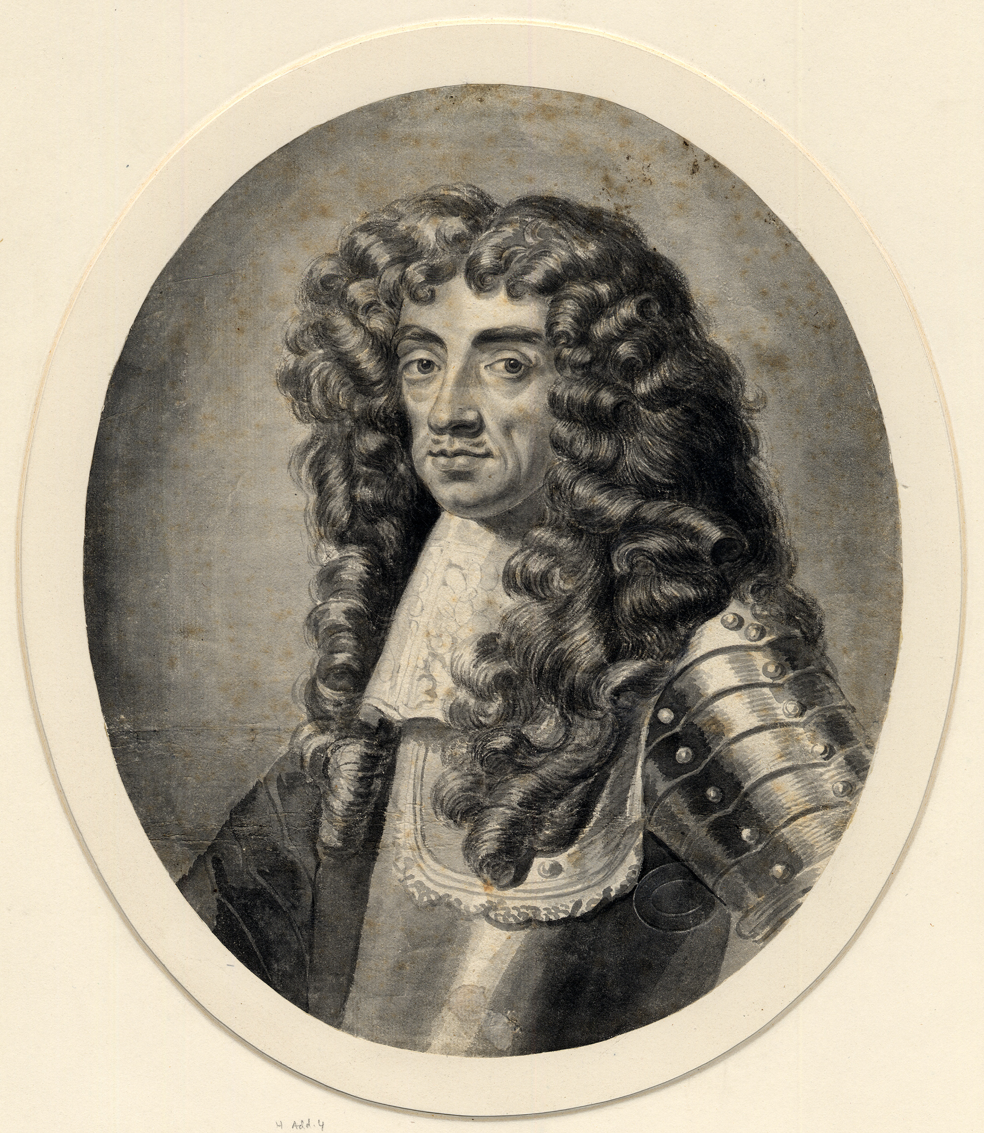 A black-and-white portrait of King Charles II who wears a suit of armour and has long curly hair.