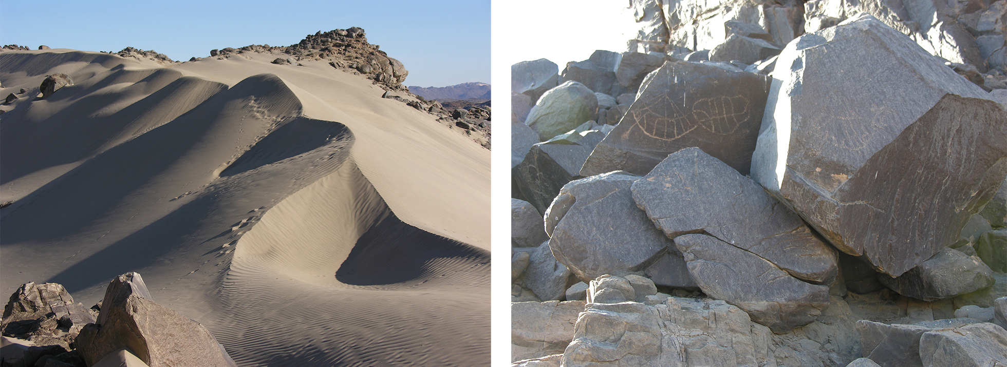 Two photographs of the Kulubnarti countryside. On the left, a photograph of large sandy dunes. On the right, a rocky outcrop with boat graffiti visible on some of the rocks.