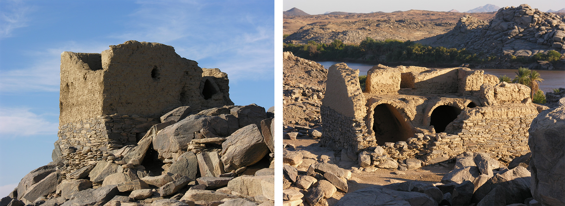 Two photographs of the ruins of houses made from mud brick and stone. The photograph on the right shows a one-story house, the left shows a two-storey house.