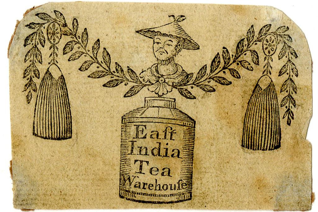 Advert for a grocer and tea dealer, including a tin of tea with a label reading 'East India Tea Warehouse'.