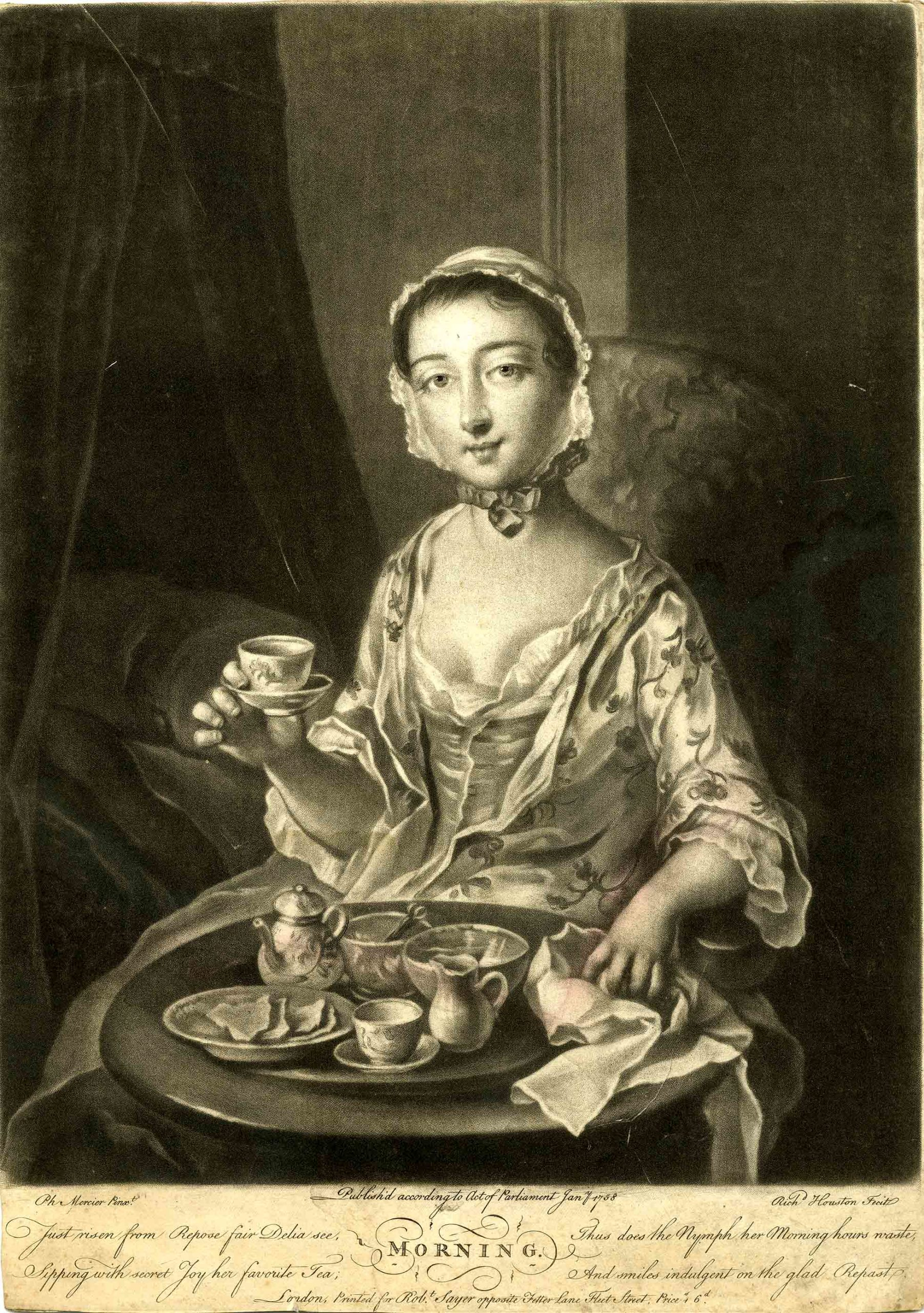 Portrait of a fashionably dressed young lady drinking tea and having breakfast.