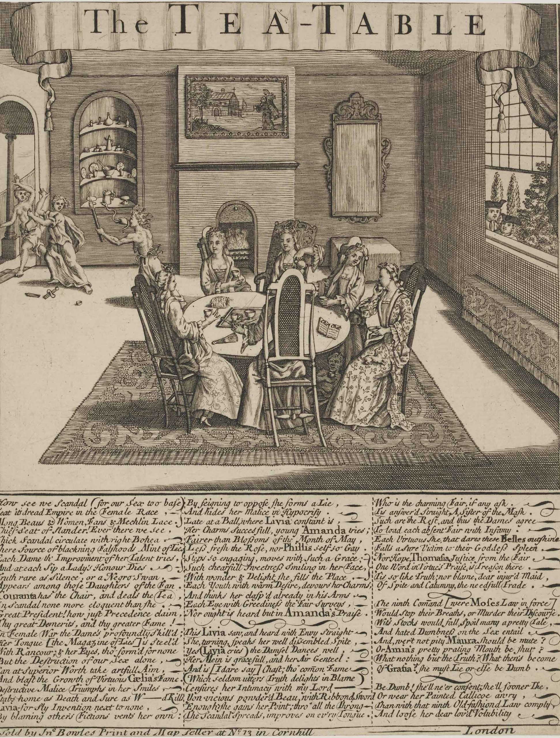 Etching showing a group of women sitting around a table drinking tea. There are three columns of satirical verse below the picture.