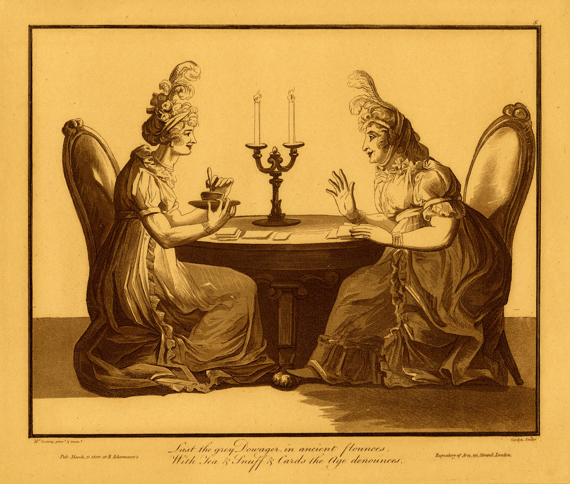 Etching of two women drinking tea and talking while sitting at a table.