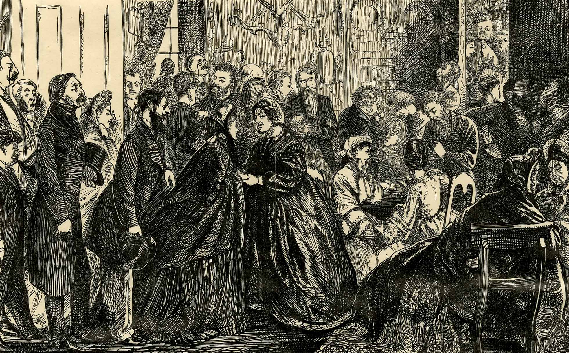 Engraving showing a a large group of people crowded into a room, taking part in a tea party.