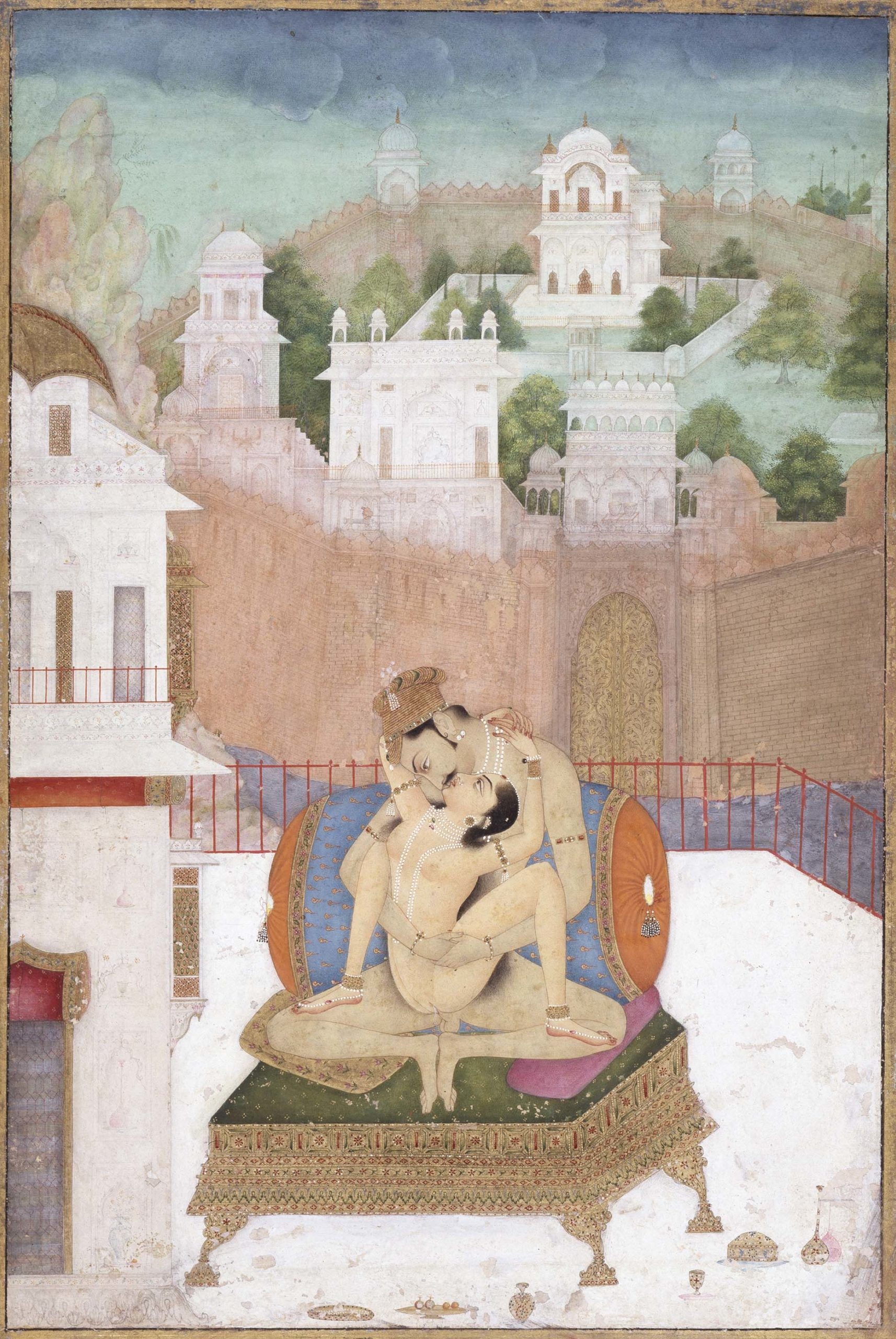 Painting showing a couple having sex on a terrace.