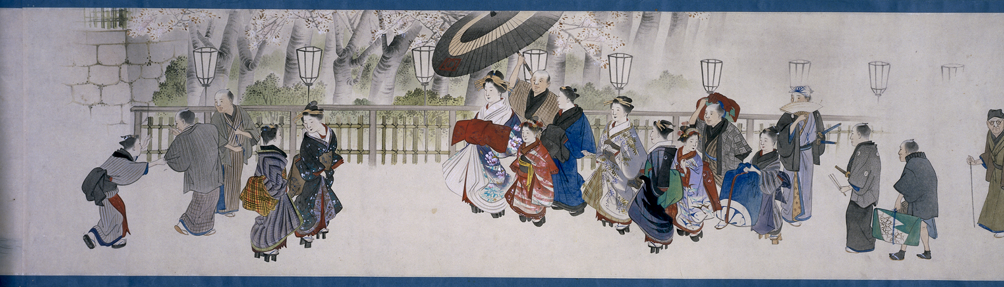 An ink and colour drawing of a courtesan with her attendants walking through the city.