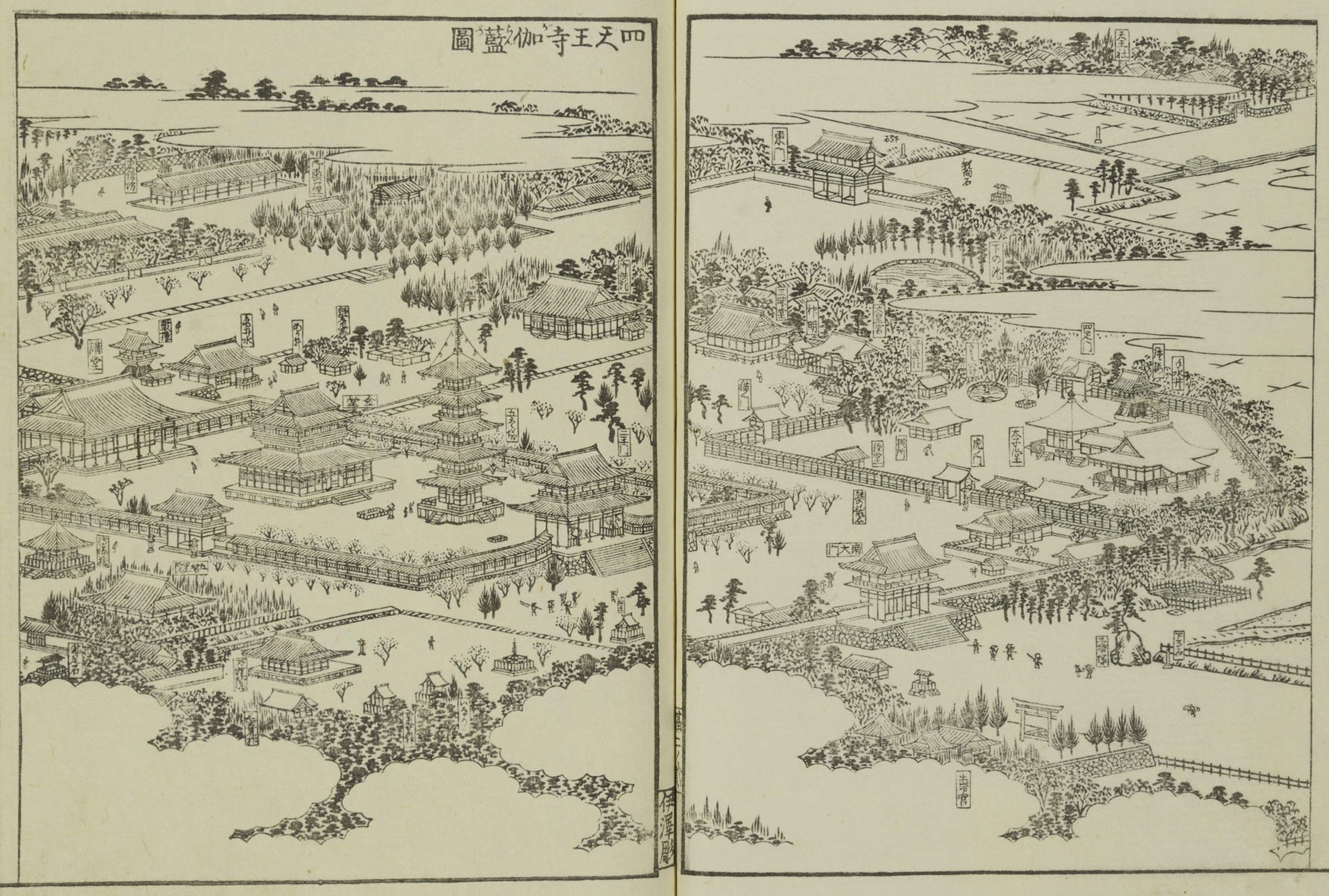 A black and white woodblock print showing the temple district in Osaka from above.