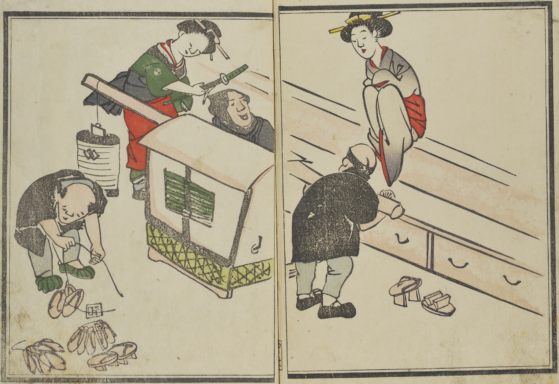 A woodblock print showing a sedan chair being carried by two men in black clothes, and another selling shoes. Two women in kimonos are trying on the shoes, ready to get into the sedan chair.