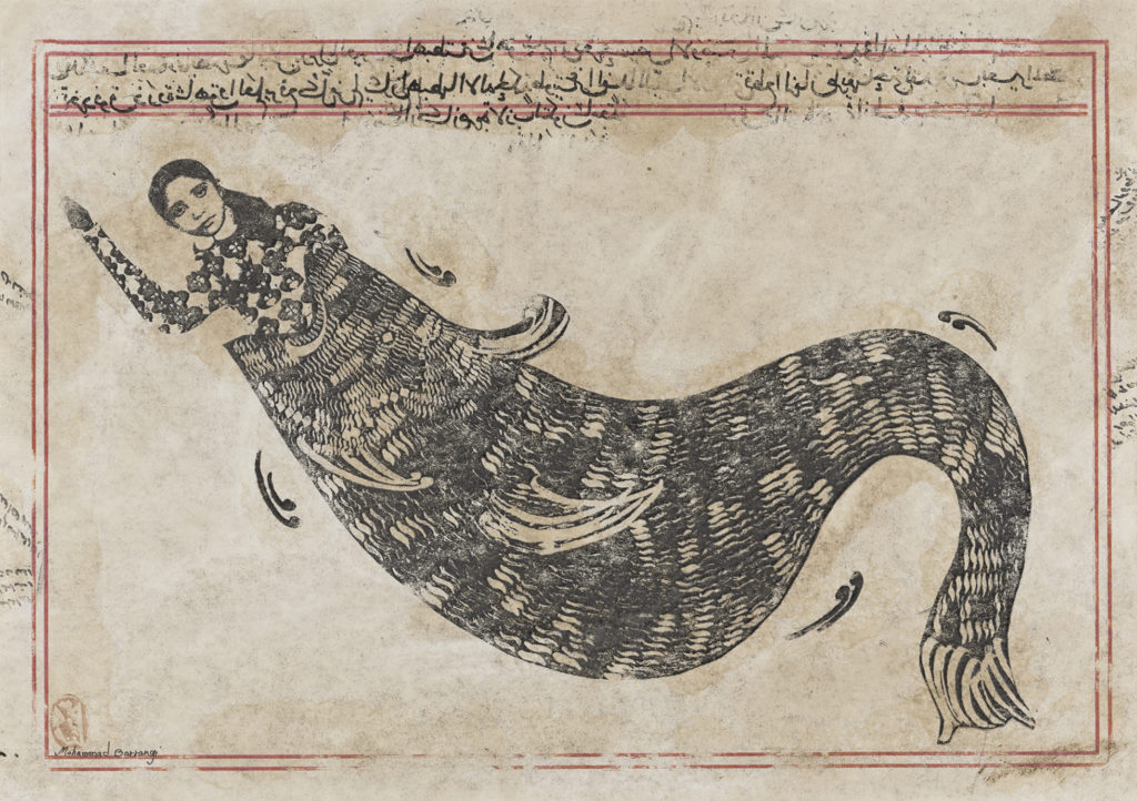 A print showing a woman being partially swallowed by a huge fish. She raises her right hand and has a blank expression. There are lines of text above.