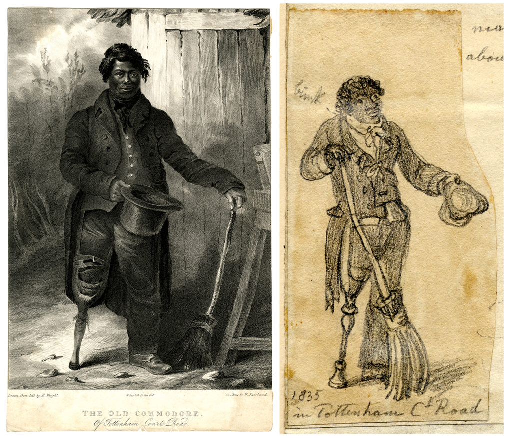 Two images of the 'Old Commodore of Tottenham Court Road'. A man wearing a long coat holds out a top hat, with in the other holds a broom. He is wearing a prosthetic right leg.