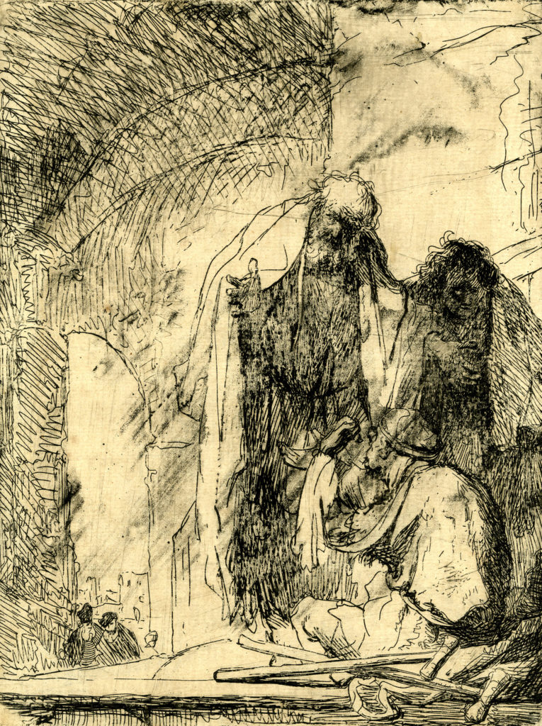An etching showing a Biblical scene of Saint Peter healing a man who sits outside a temple's gates. Peter and John stand, wearing loose robes while the man sits on the floor, with crutches laid out in front.