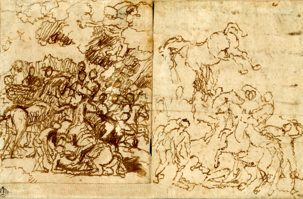 Two pen drawings of a Biblical scene showing people and horses. The drawing on the left is more heavily worked and the one on the right is lighter. On the right you can see the jagged lines potentially caused by the artist's tremors.