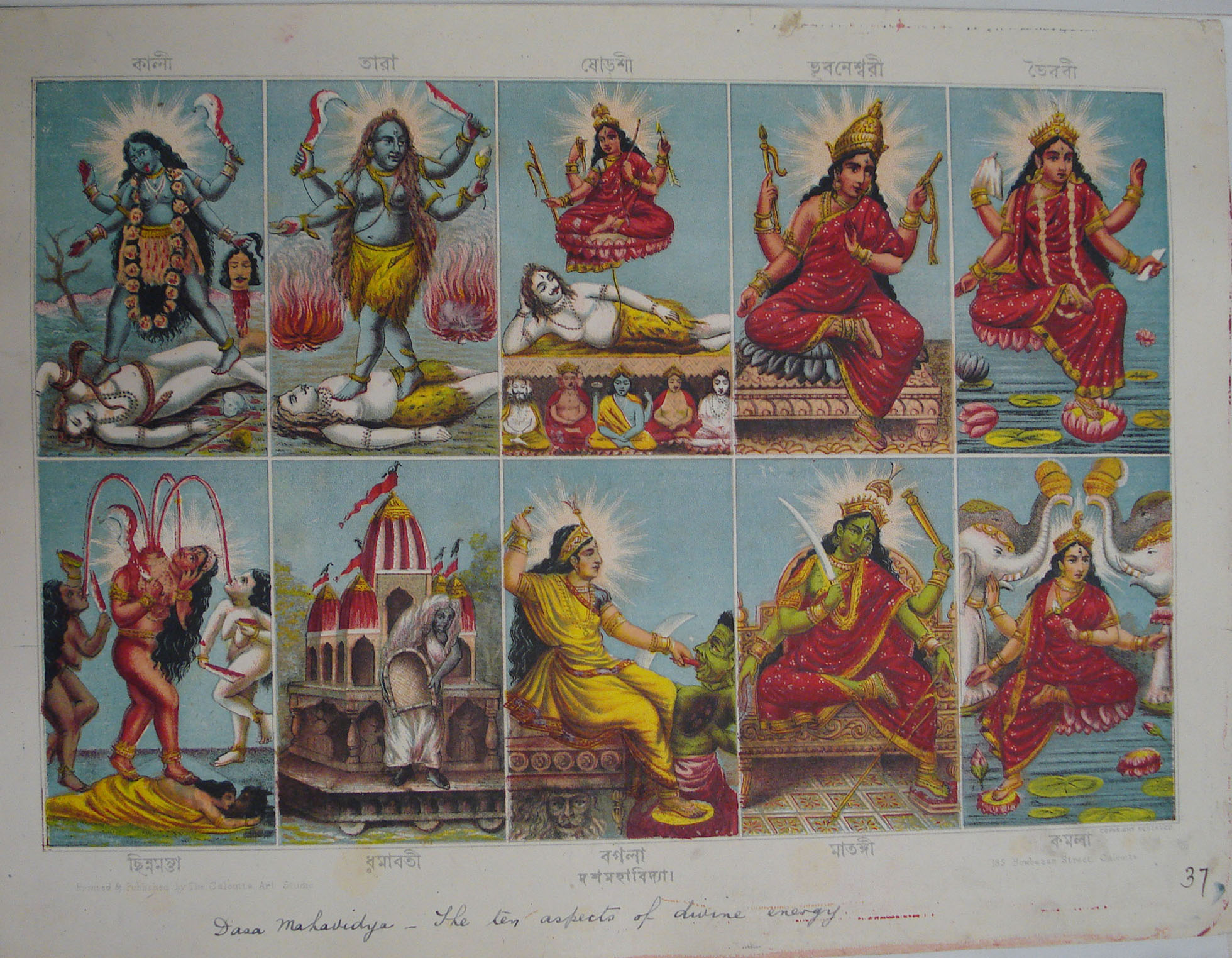 10 images show the Mahavidyas in different aspects.
