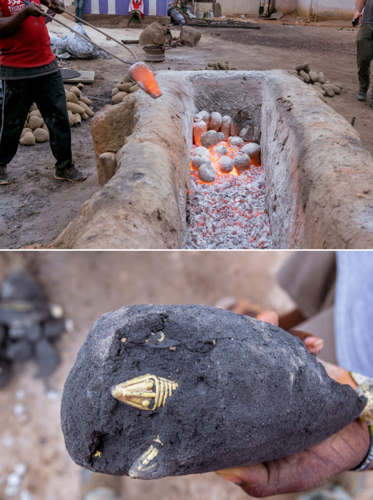 (Top) A mould is taken out of an open furnace. A glowing mould is held in tongs while others lie in the embers (Bottom) A gold serpent's head can be seen inside a blackened mould.