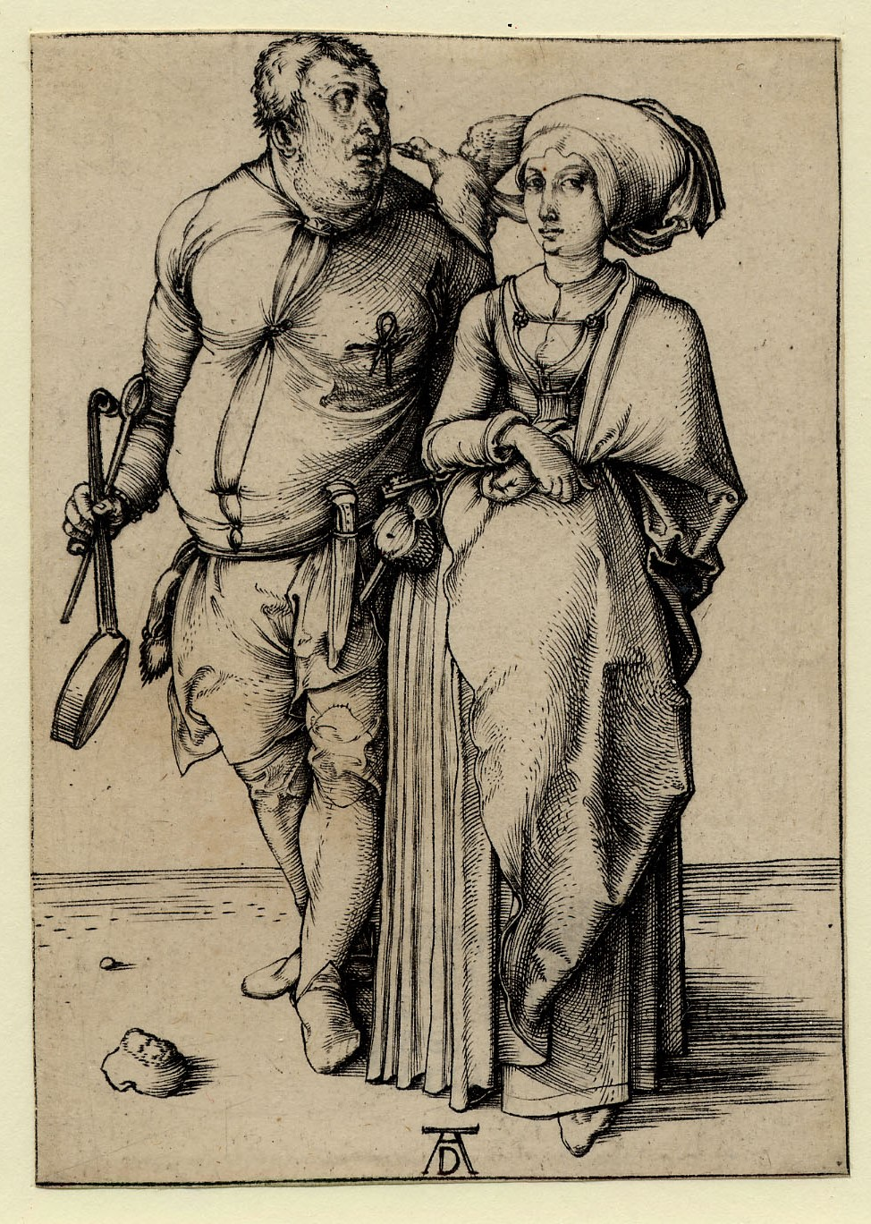 Print showing a couple. On the left is a man. He holds a frying pan and long cooking spoon and has a knife in his belt. He has a live magpie on his left shoulder, which he looks towards. The woman stands on the right, she wears a large headscarf and had her wrists crossed at her waist.  Durer's monogram is at the bottom of the print.