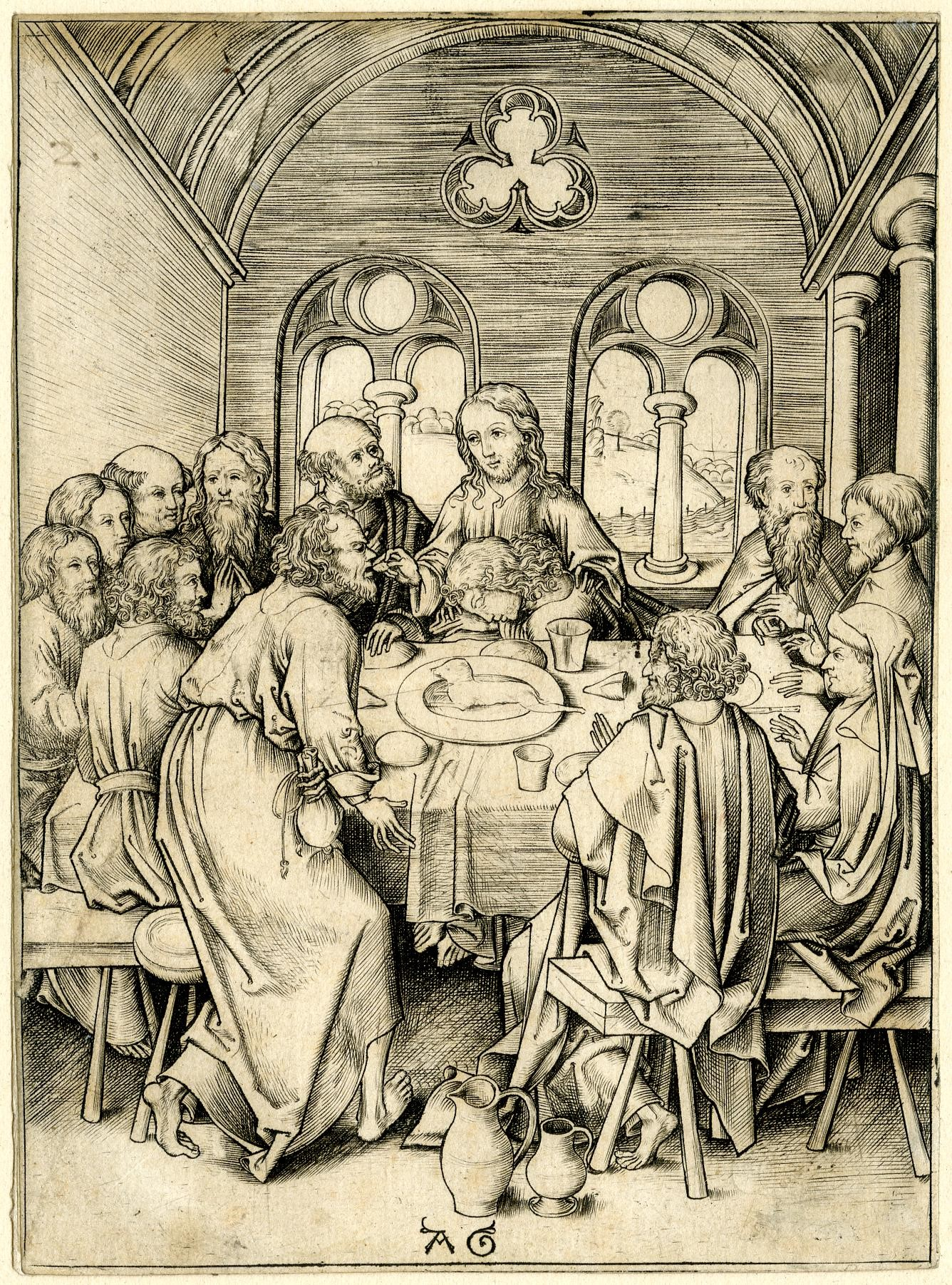 Engraving representing Christ and his disciples seated at a rectangular table. Judas is standing and bends slightly over the table. Through two windows in the back, the outer landscape is seen.