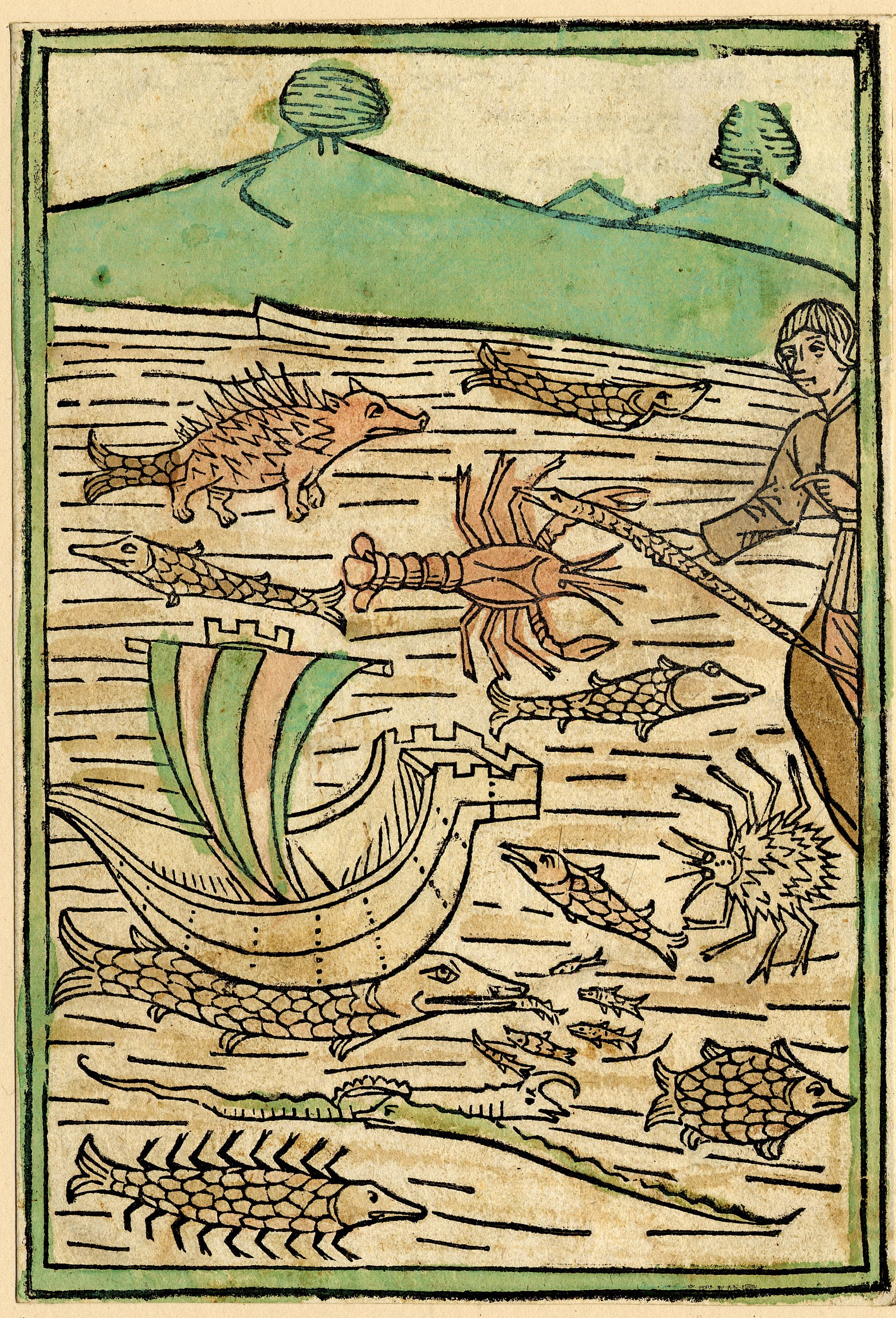 A print showing a fisherman on the left standing next to a body of water filled with different types of fish and fantastical looking sea creatures. There is also a boat on the water with a sail. In the background are hills and trees. The print is coloured with green and orange.