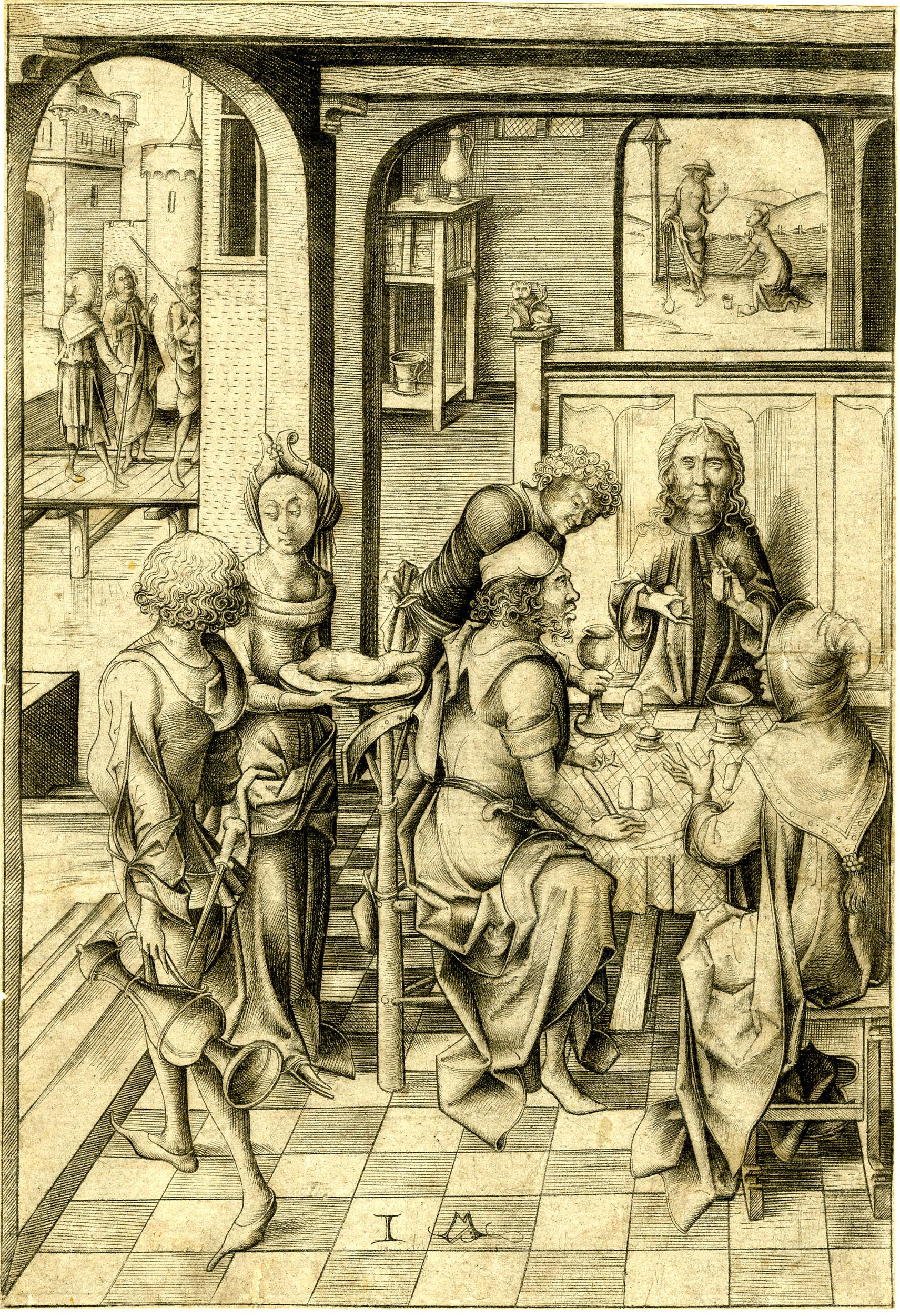 Christ and the two disciples are seated at the table. Three other figures are present, including a woman who appears to be serving food. In the left background the portrayal of the journey to Emmaus and to the right, Christ's appearance to St Mary Magdalene.