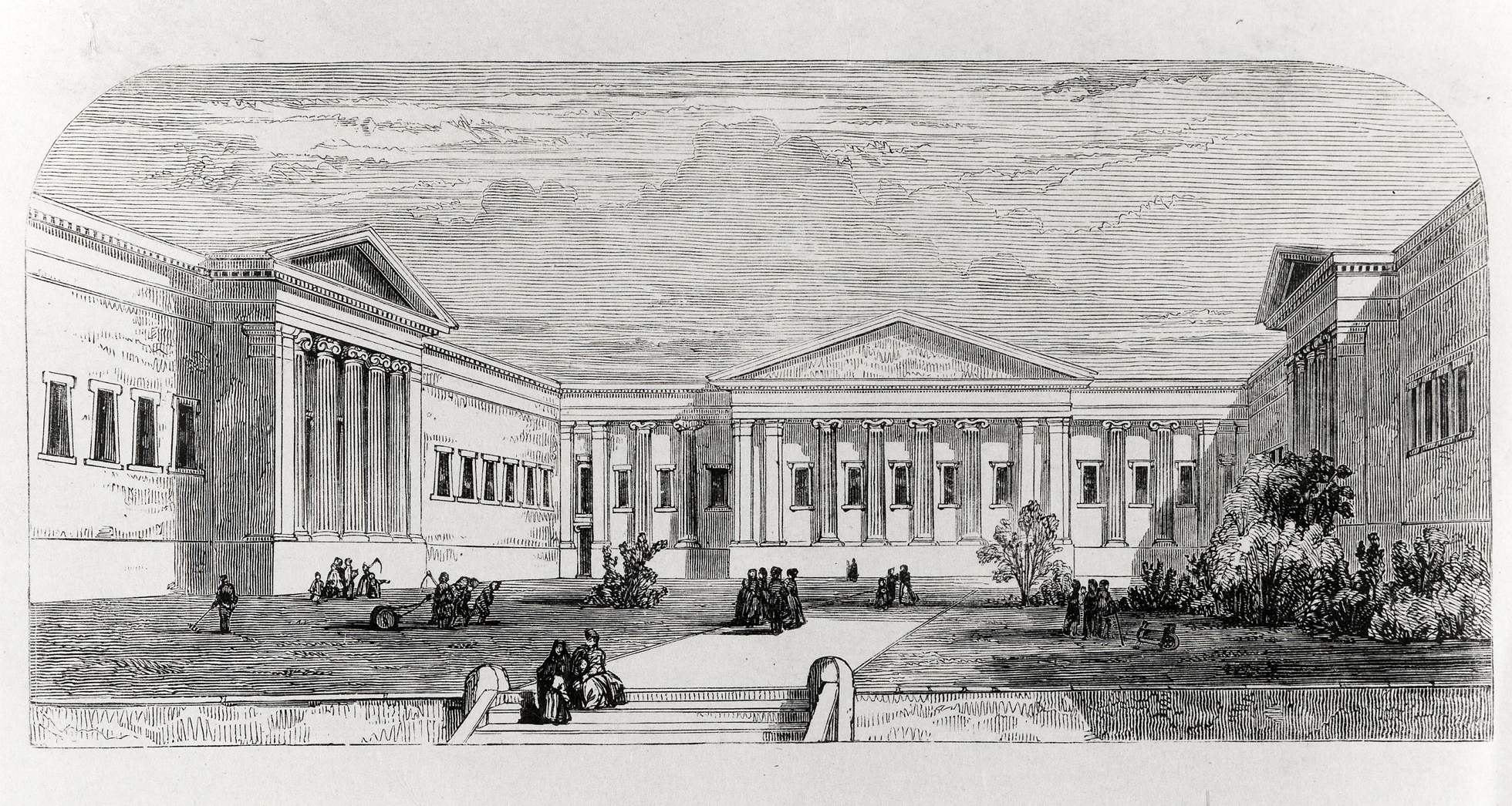 A black-and-white print showing a courtyard where the Great Court now stands, with people walking in long dresses and gardens with shrubs and trees between three of the facades of the Museum.
