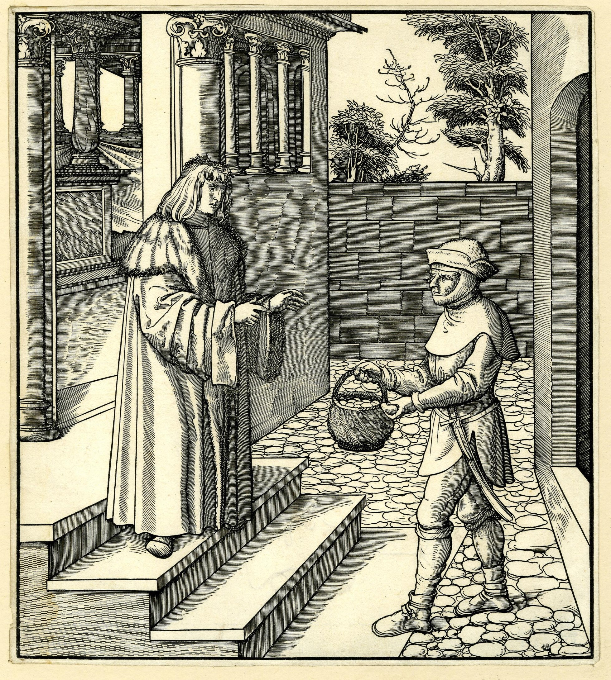 Print showing a man standing on some stairs leading up to a columned hallway, in the yard a farmer appraches him holding a basket with eggs.