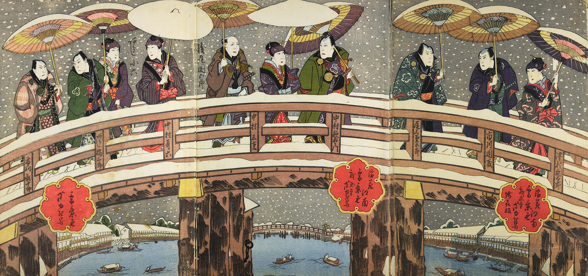 A colour woodblock print showing kabuki actors crossing a bridge in the snow while wearing female clothes.