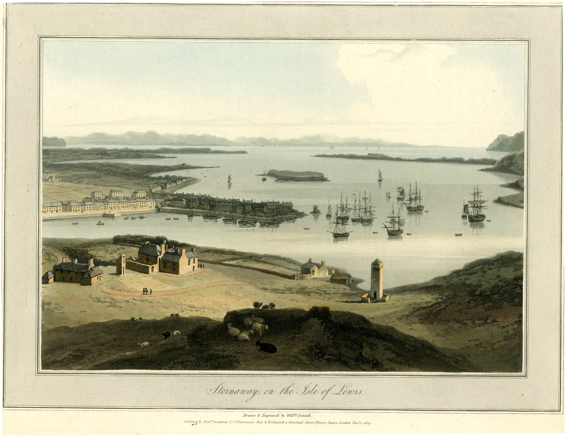 View of Stornaway bay on the Isle of Lewis from a high vantage point, with boats moored up and a few buildings in the foreground. Aquatint and coloured etching on paper.