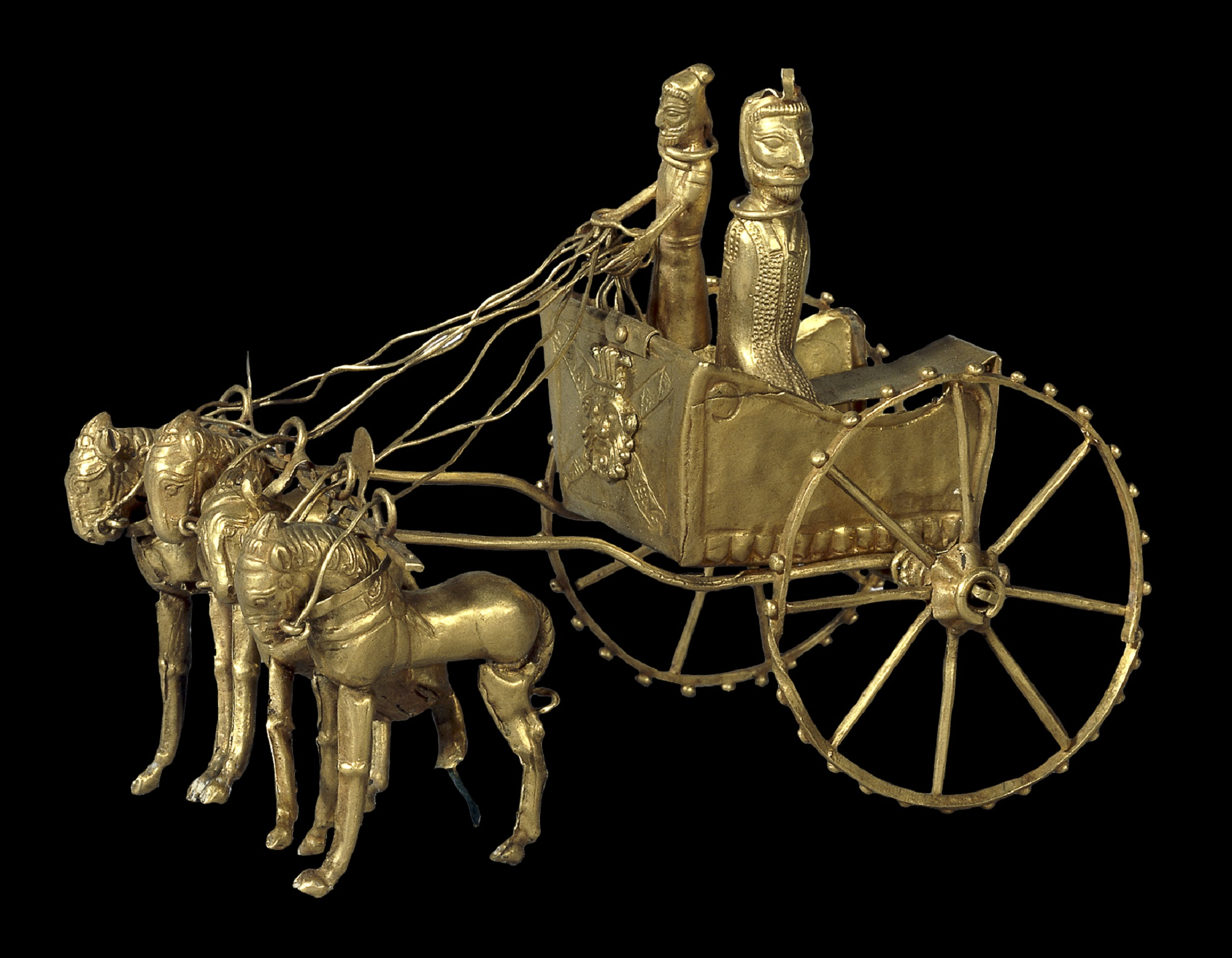 Intricately detailed model of the chariot, with a rider and passenger