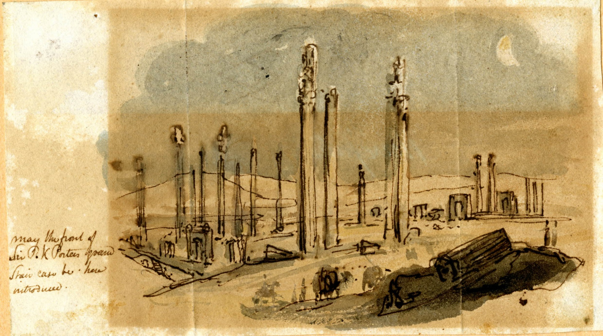 Watercolour of the ruins of Persepolis with standing columns, a fallen fragment on the right and a crescent moon above