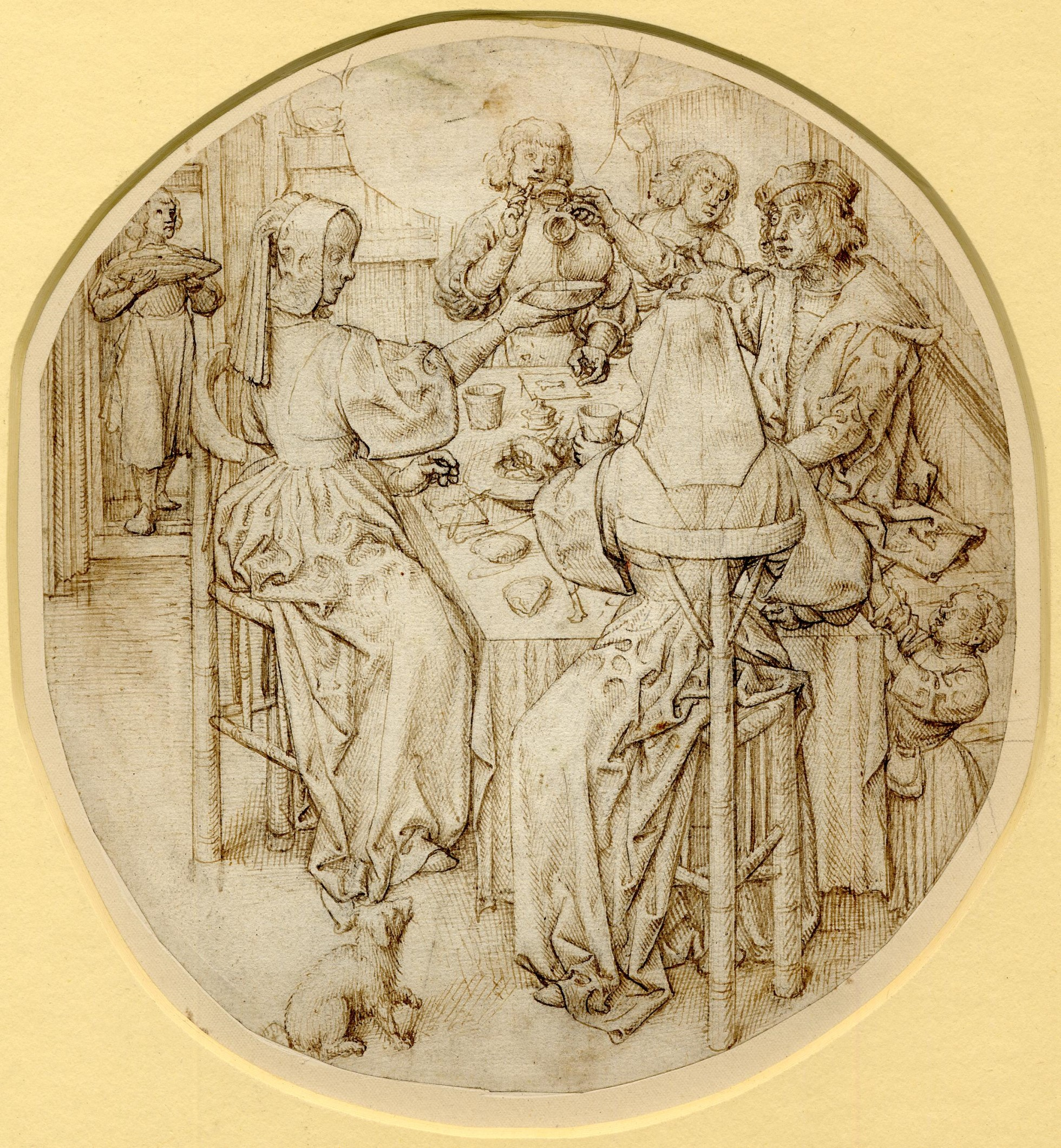 A print showing a group of five figures dining: a servant with food entering the doorway at left, a child reaching up to the table at right and a small dog in the foreground. The print is in a roundel.  Brown ink on a cream ground.