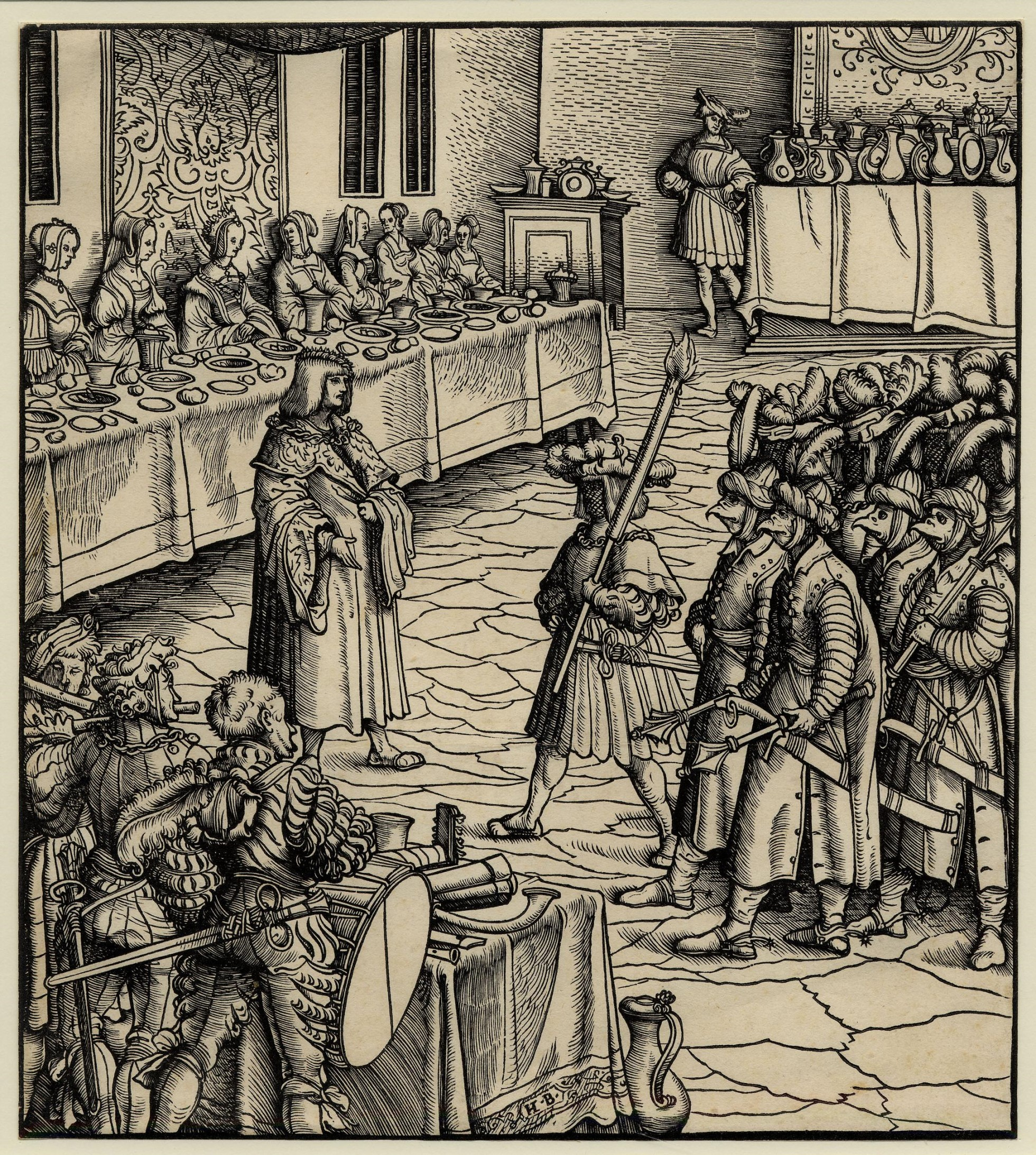 On the left are a group of soldiers wearing bird masks. Musicians in foreground with their backs to us. Some of their instruments sit on the table. Ladies-in-waiting are feasting in background on a long table. In the background is a table covered with a cloth and holding jugs and other items.