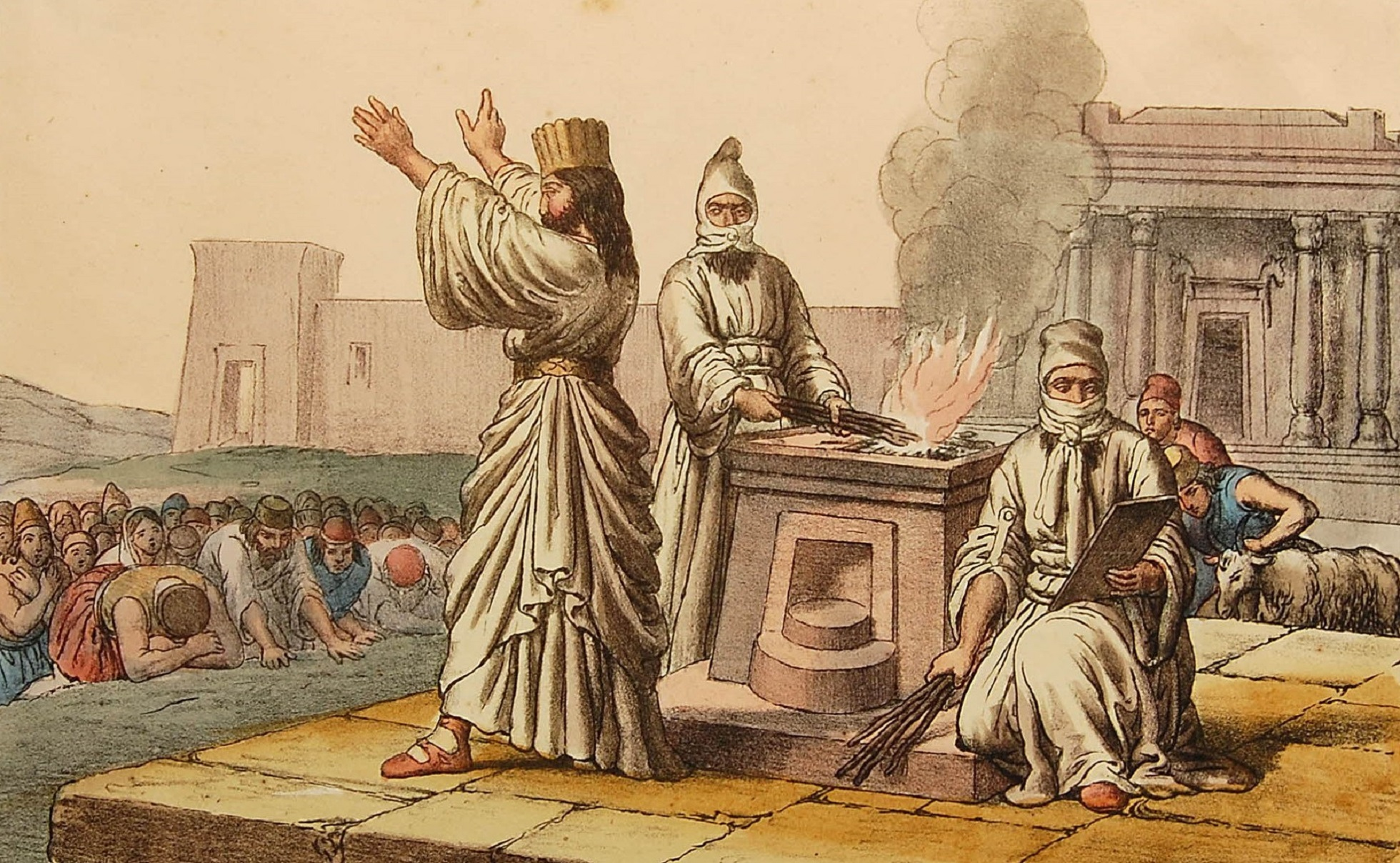 Three priests around a fire altar, performing a ceremony to a congregation