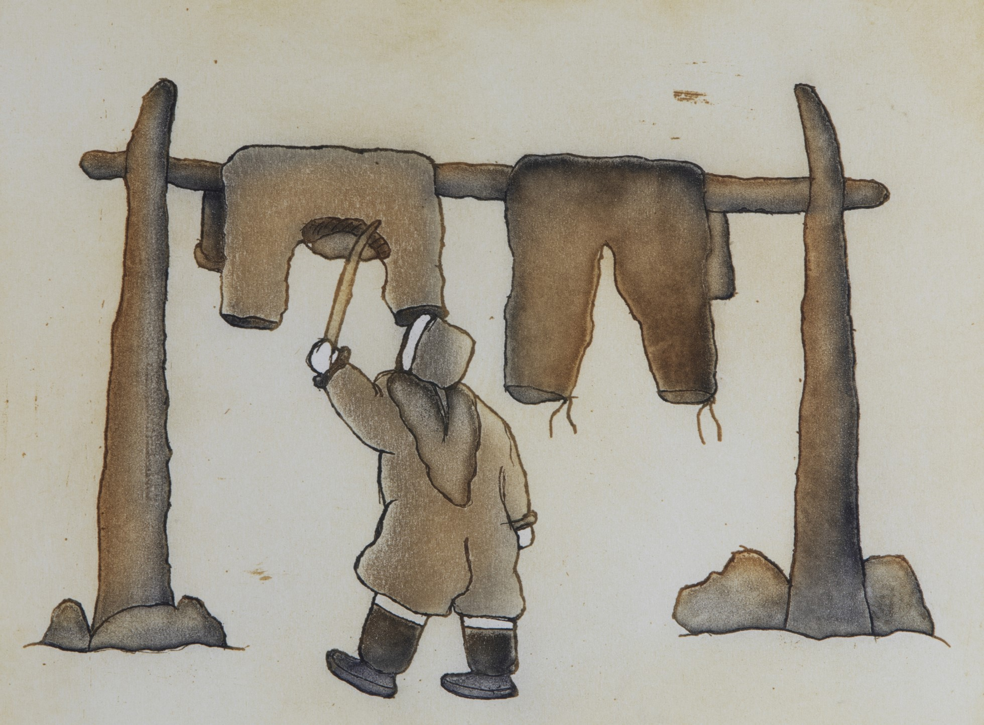 A painting of a person standing between two posts, which hold a horizonal bar on which clothes are hung. The person is shown from behind wearing a parka and boots. They beat the clothes with a stick. The scene is represented in brown tones.